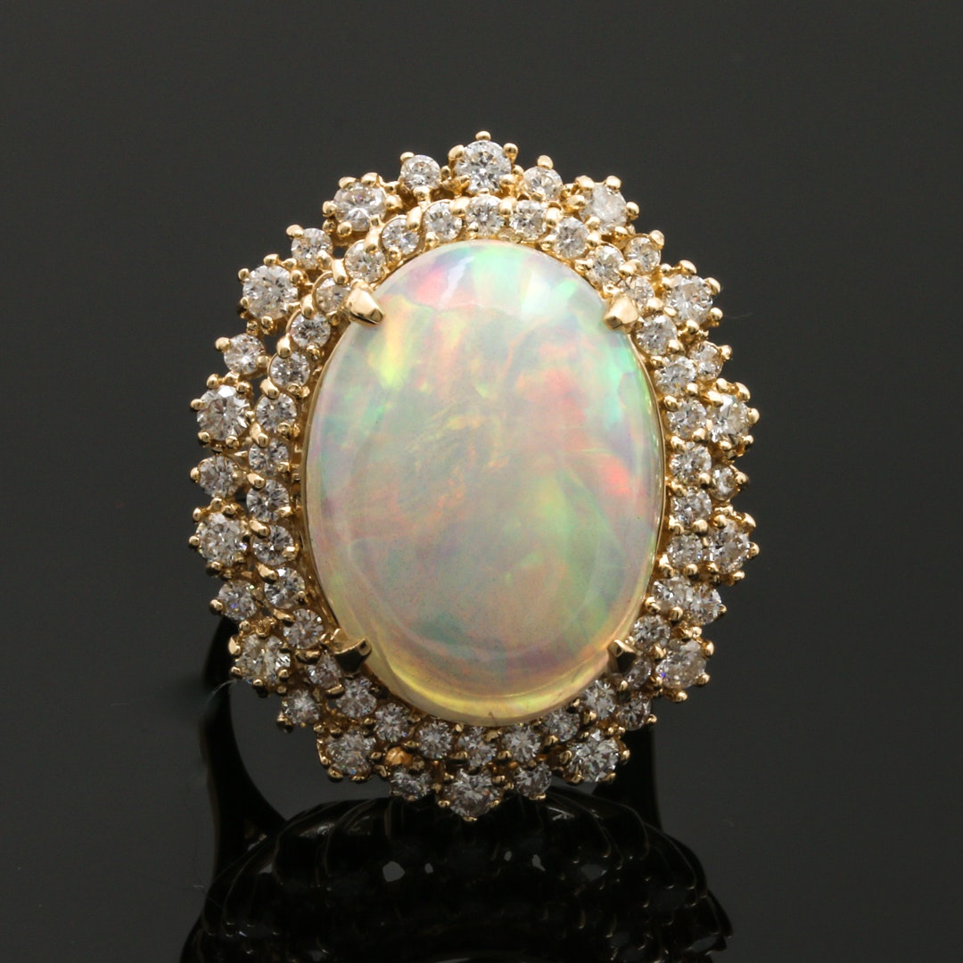 14K Yellow Gold 9.74 CT Opal and 1.50 CTW Diamond Cocktail Ring
