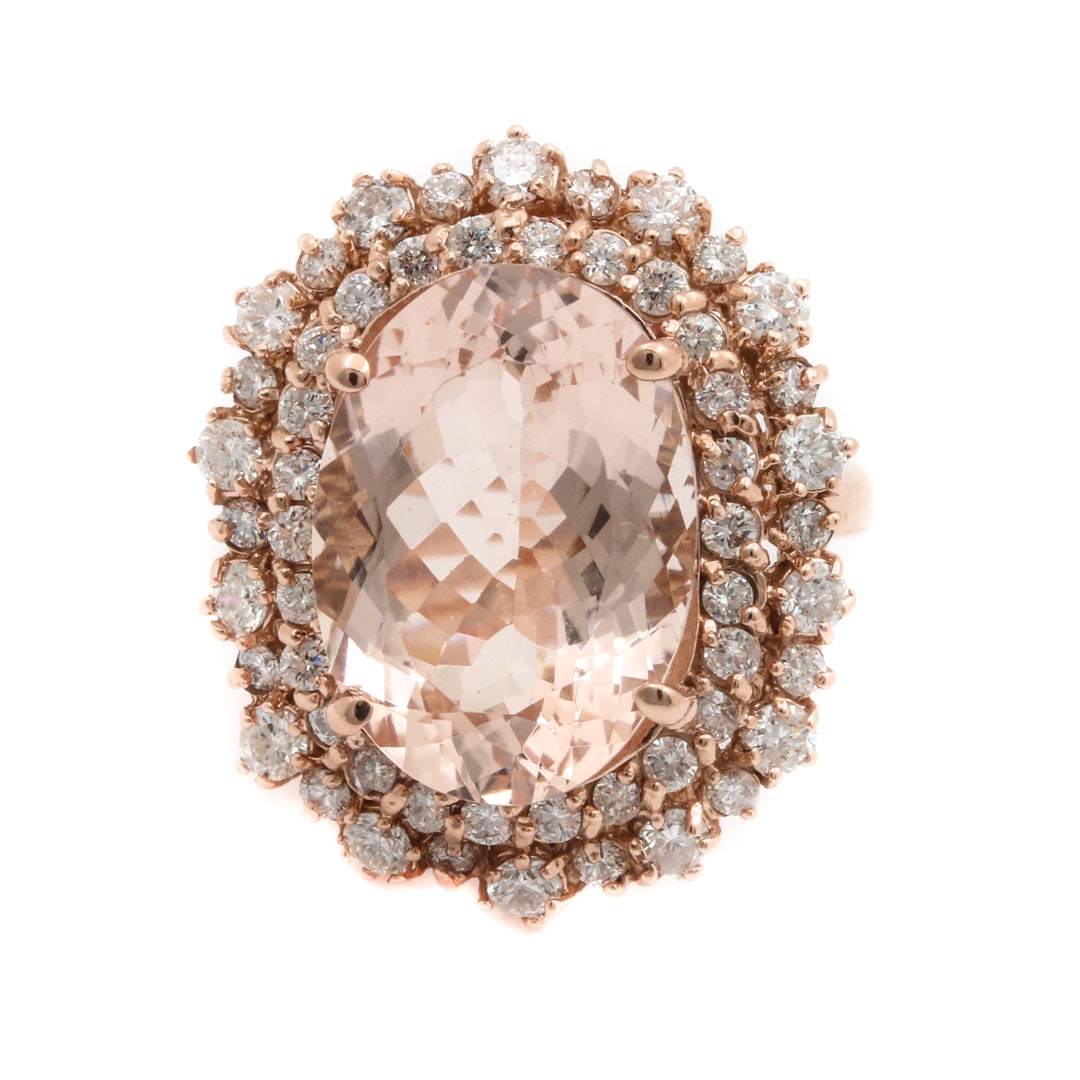 14K Rose Gold 8.33 CT Morganite and 1.69 CTW Diamond Cocktail Ring