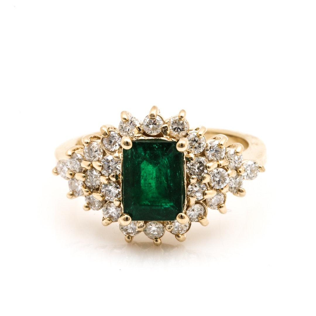 14K Yellow Gold 1.21 CT Emerald and Diamond Ring