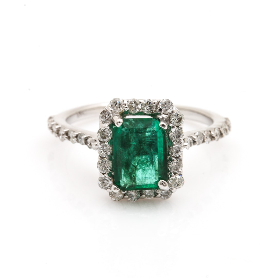 14K White Gold 1.07 CT Emerald and Diamond Ring
