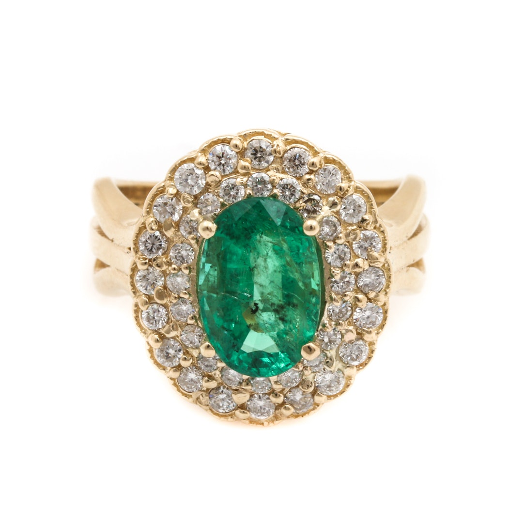 14K Yellow Gold 2.01 CT Emerald and Diamond Ring