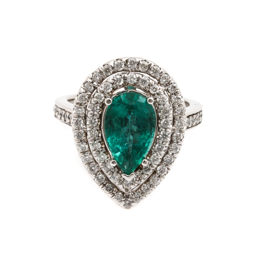 14K White Gold 2.01 CT Emerald and 0.93 CTW Diamond Ring
