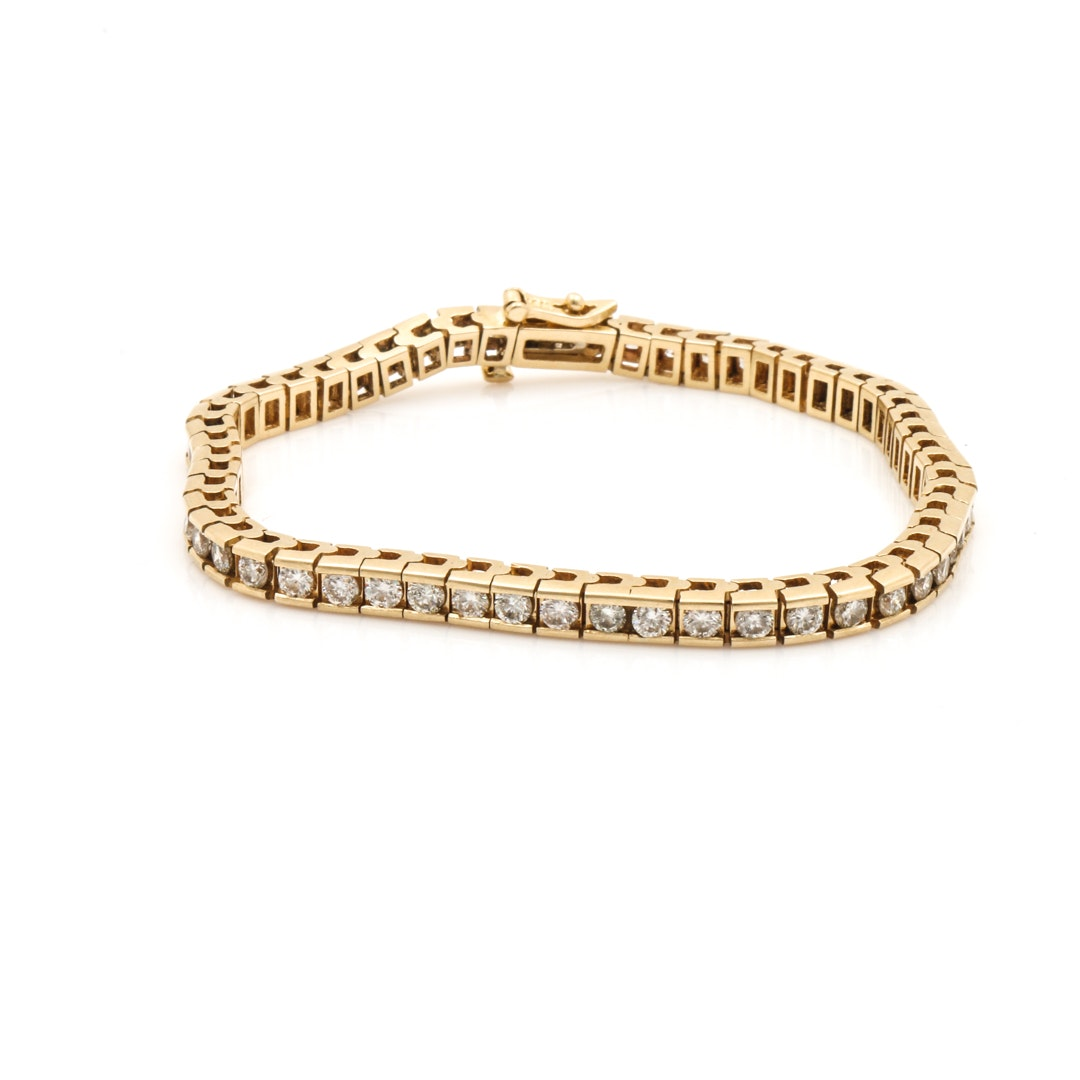 14K Yellow Gold 4.48 CTW Diamond Line Bracelet