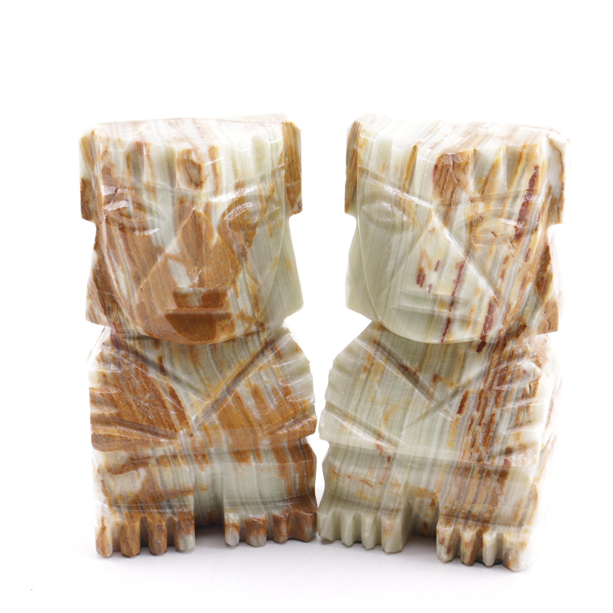 Calcite Aztec Inspired Bookends