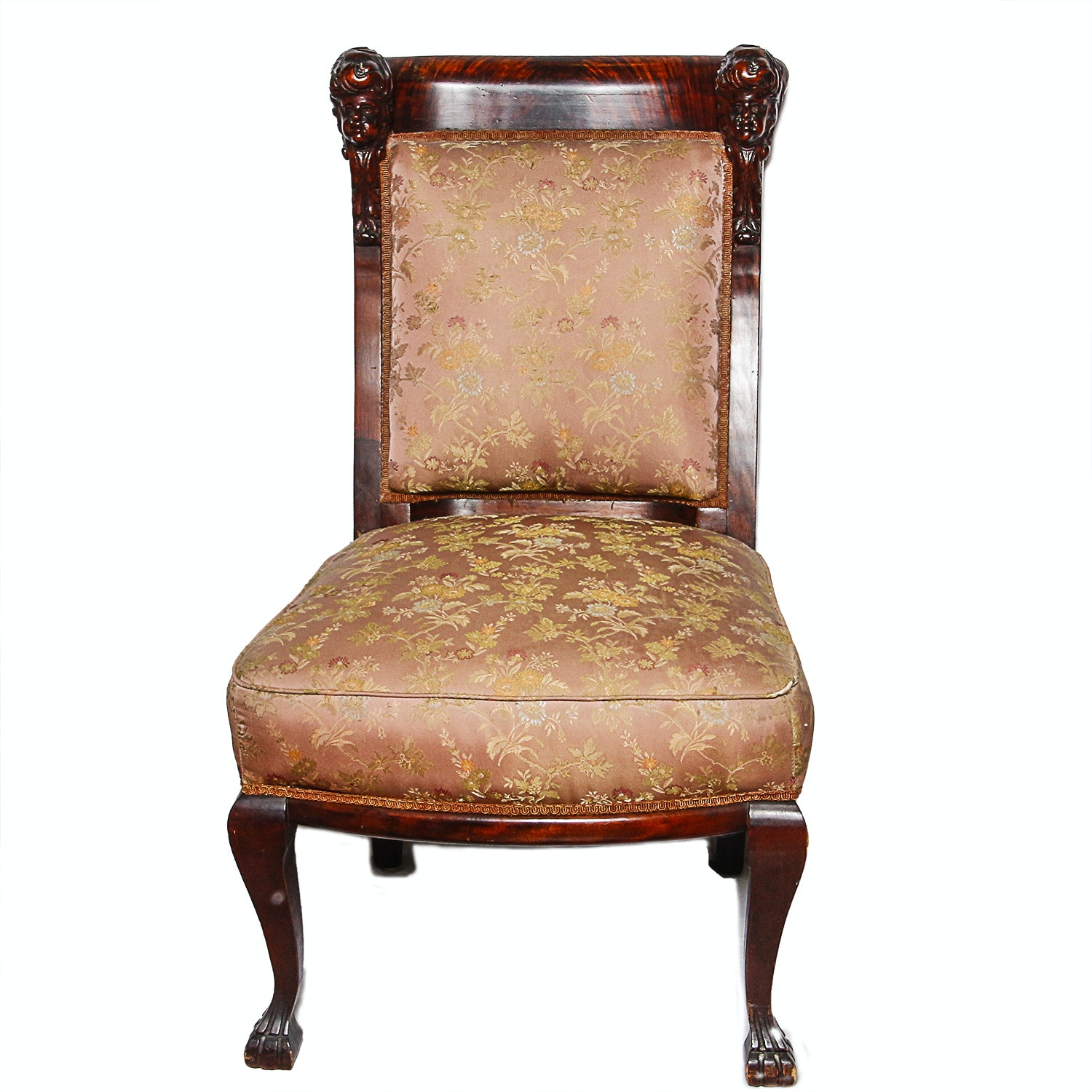 Vintage Spanish Style Mahogany Accent Chair