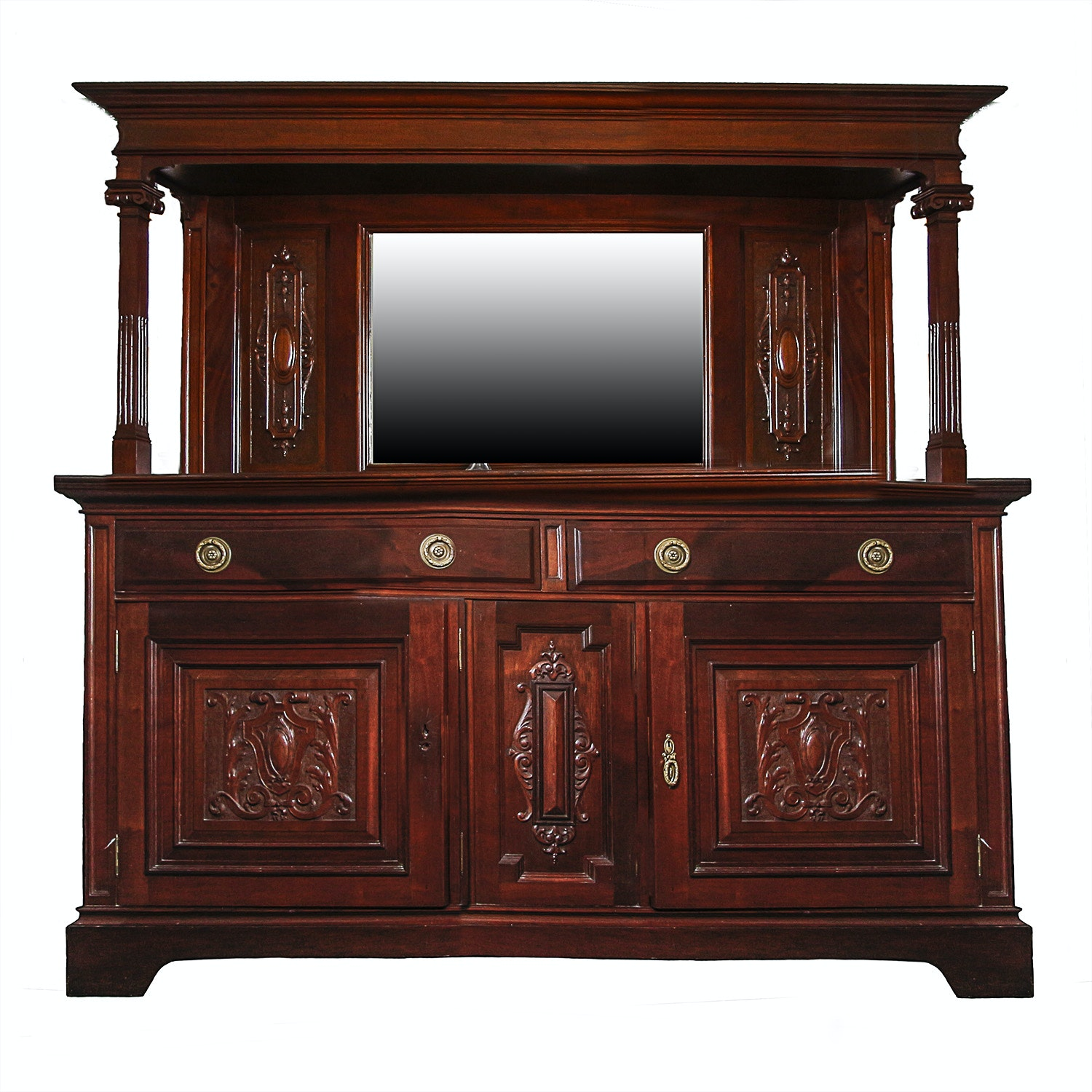 Antique Edwardian Mahogany Sideboard with Mirror