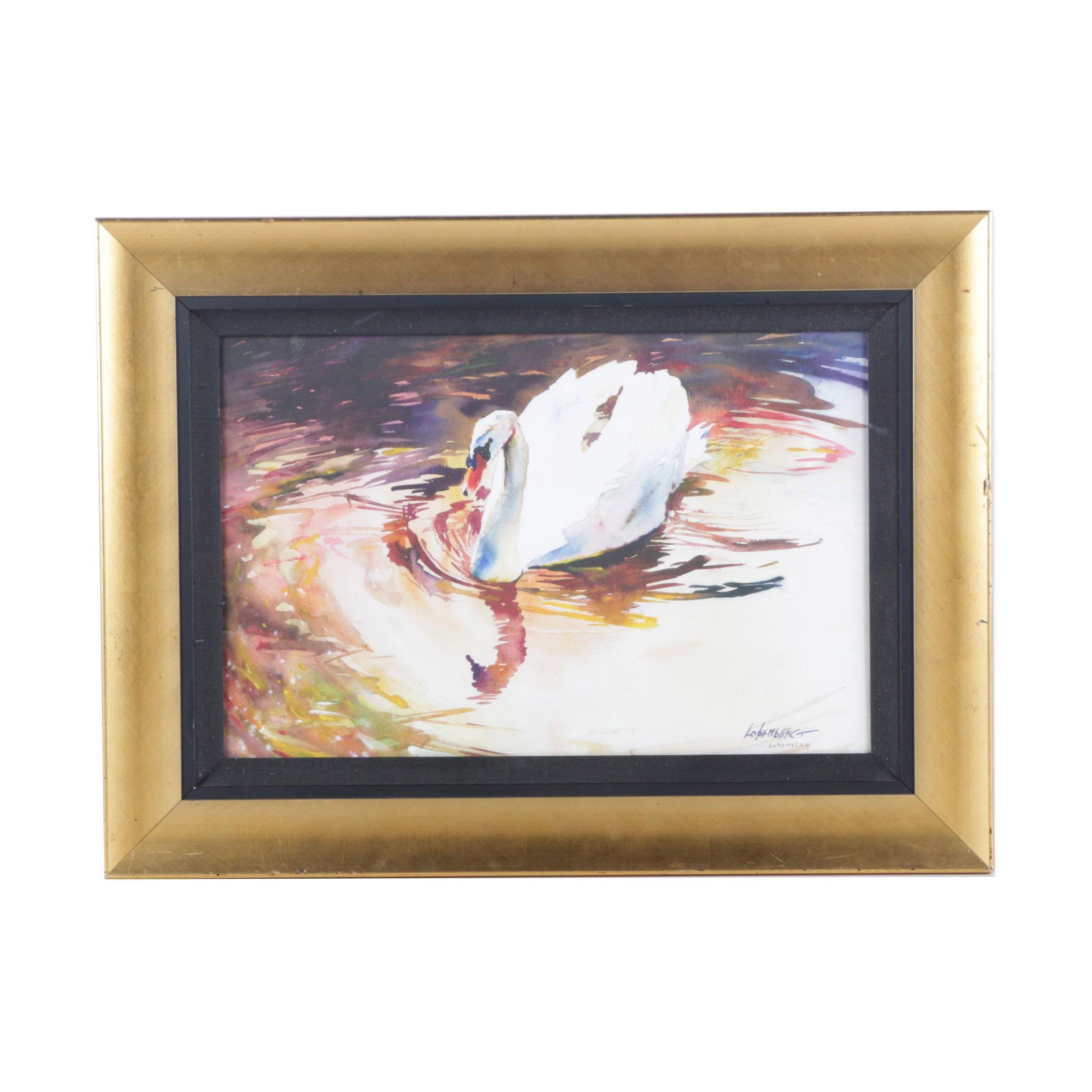 "David Lobenberg Giclee on Paper ""White Swan"""