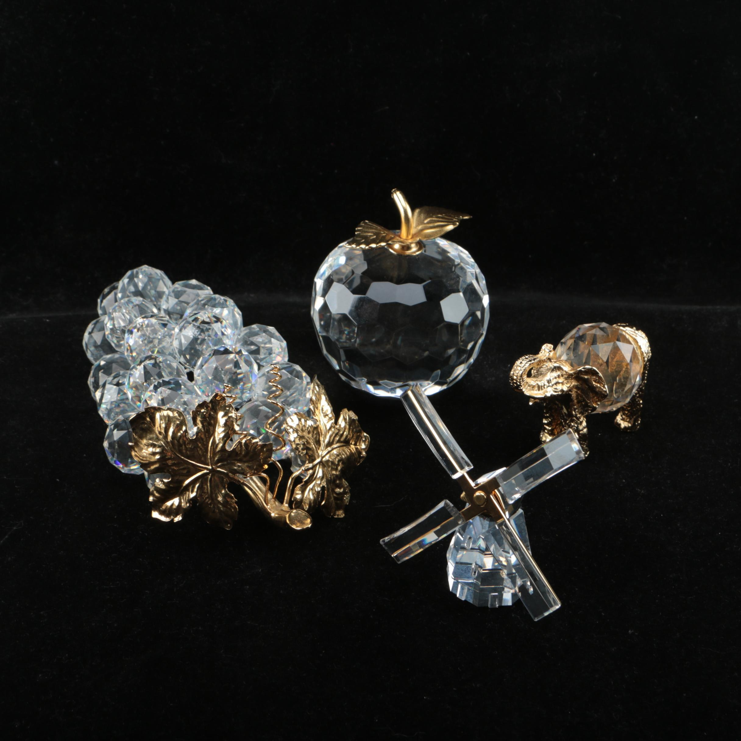 Swarovski Crystal and Gold Plated Figurines
