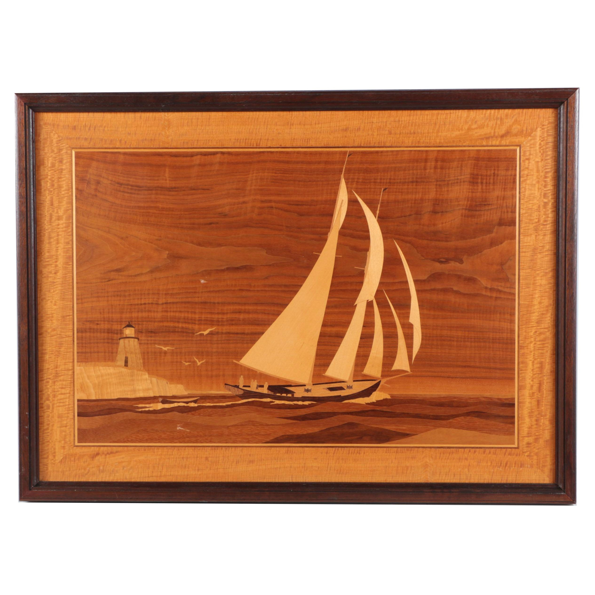 Marquetry Picture of a Sailboat