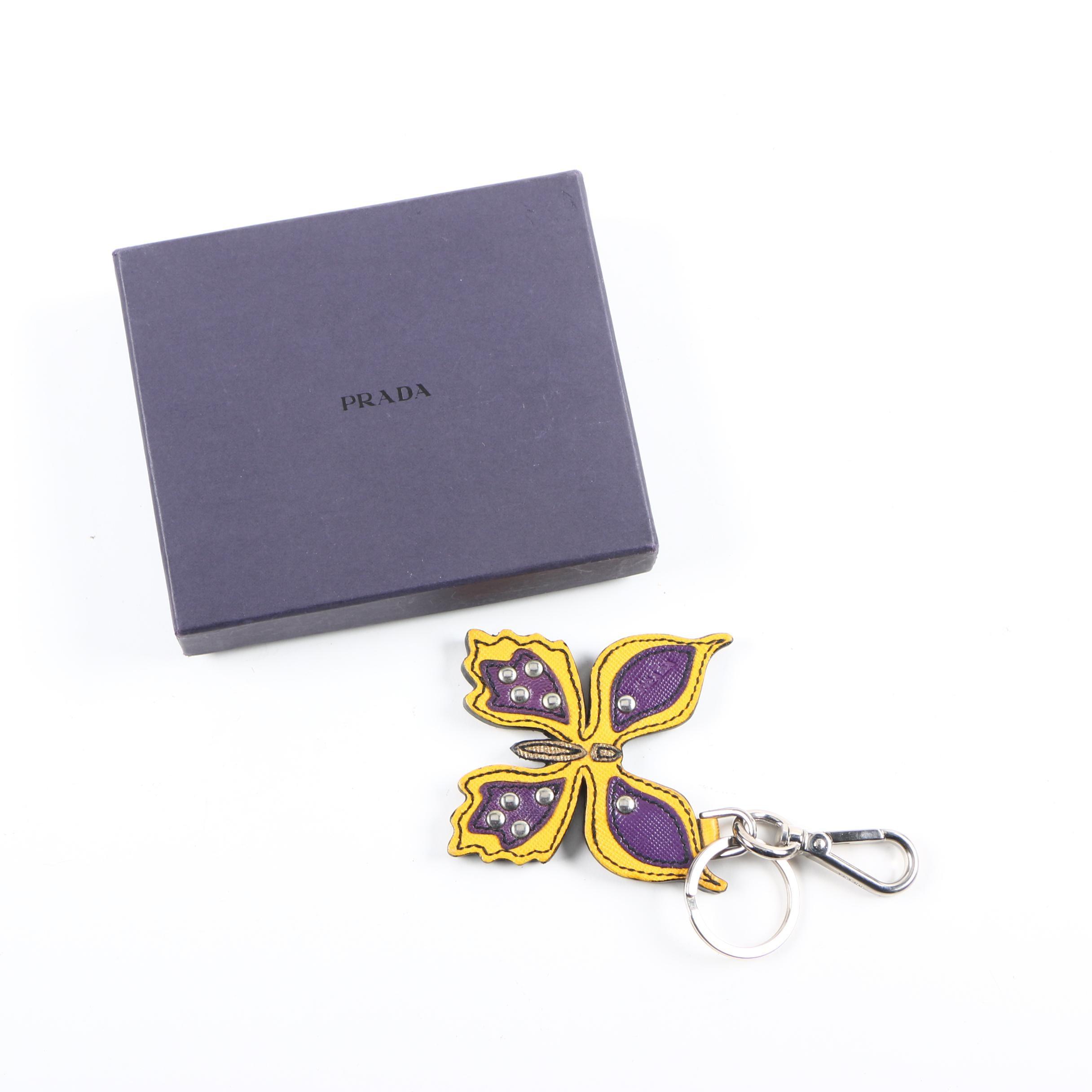 Prada Leather Butterfly Key Chain