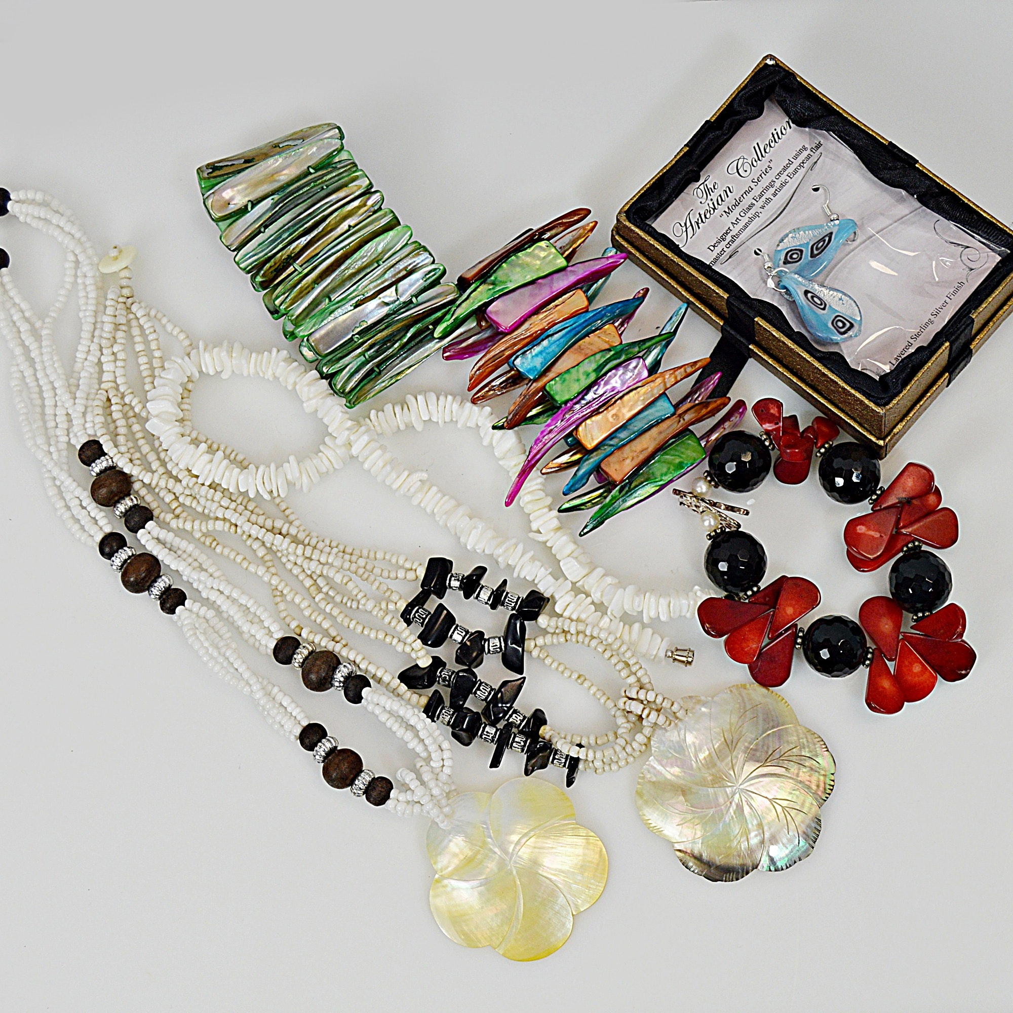 Costume Jewelry with Shells, Natural Pearls