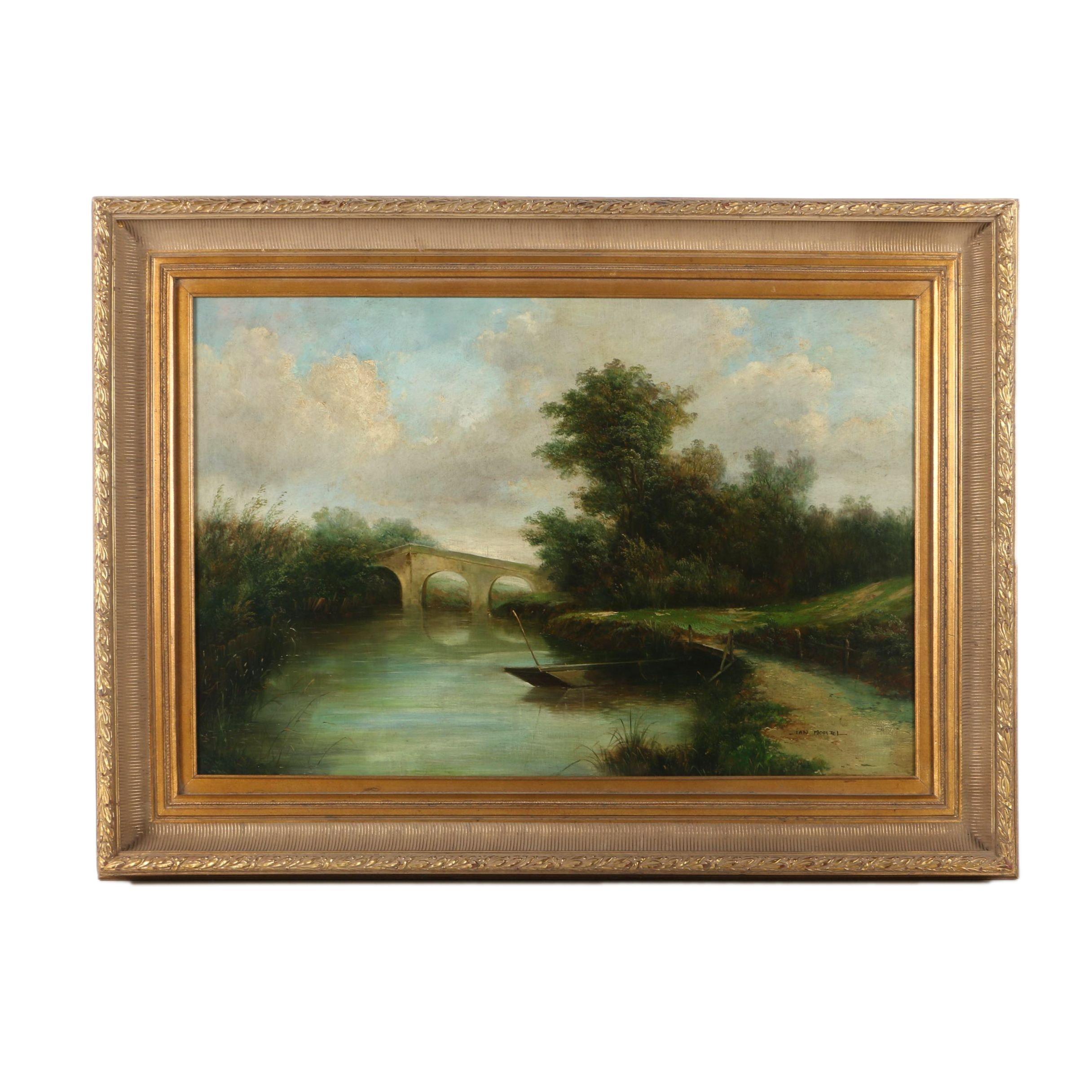 Jan Mortel Oil Painting on Canvas of a Landscape