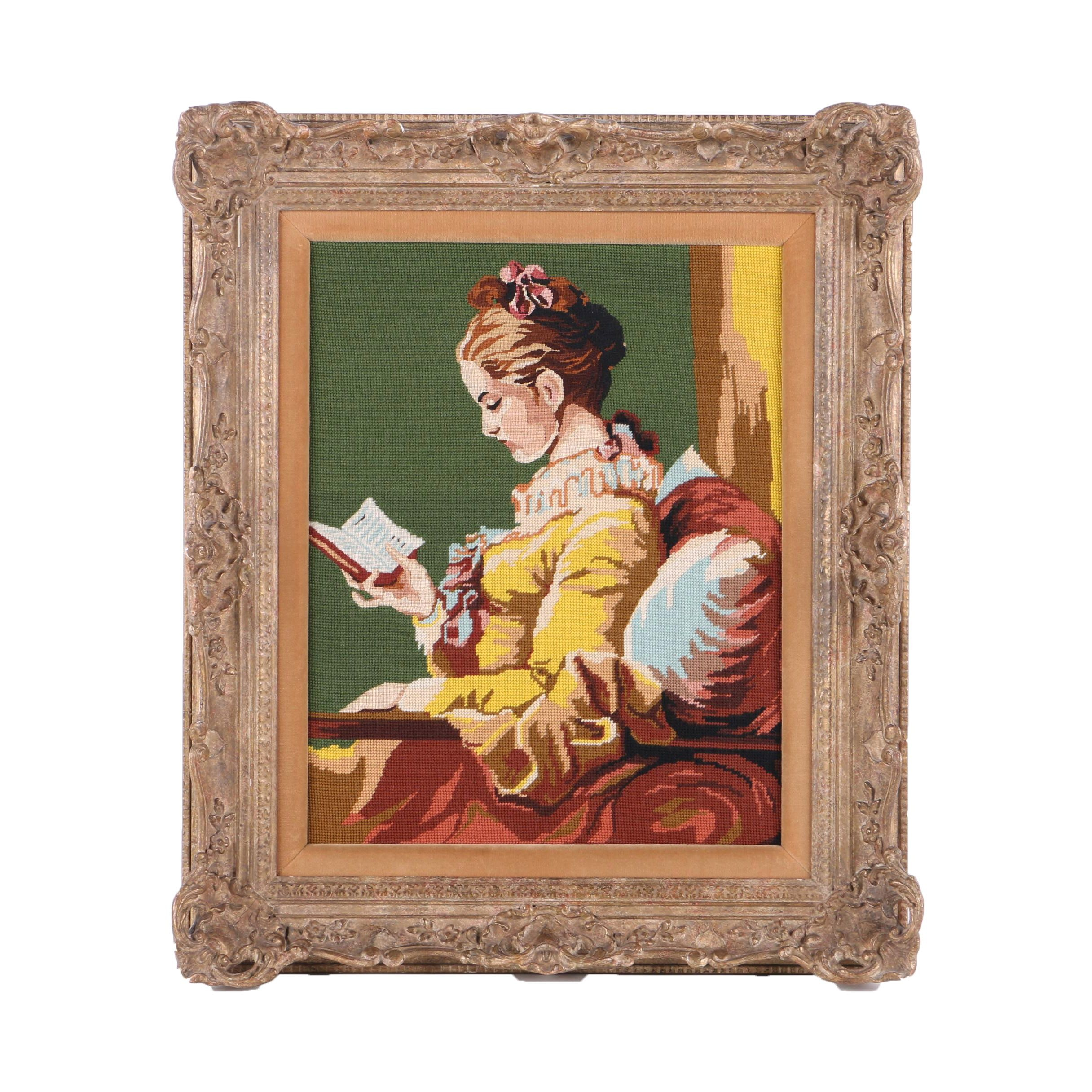 Needlepoint Picture of a Woman Reading