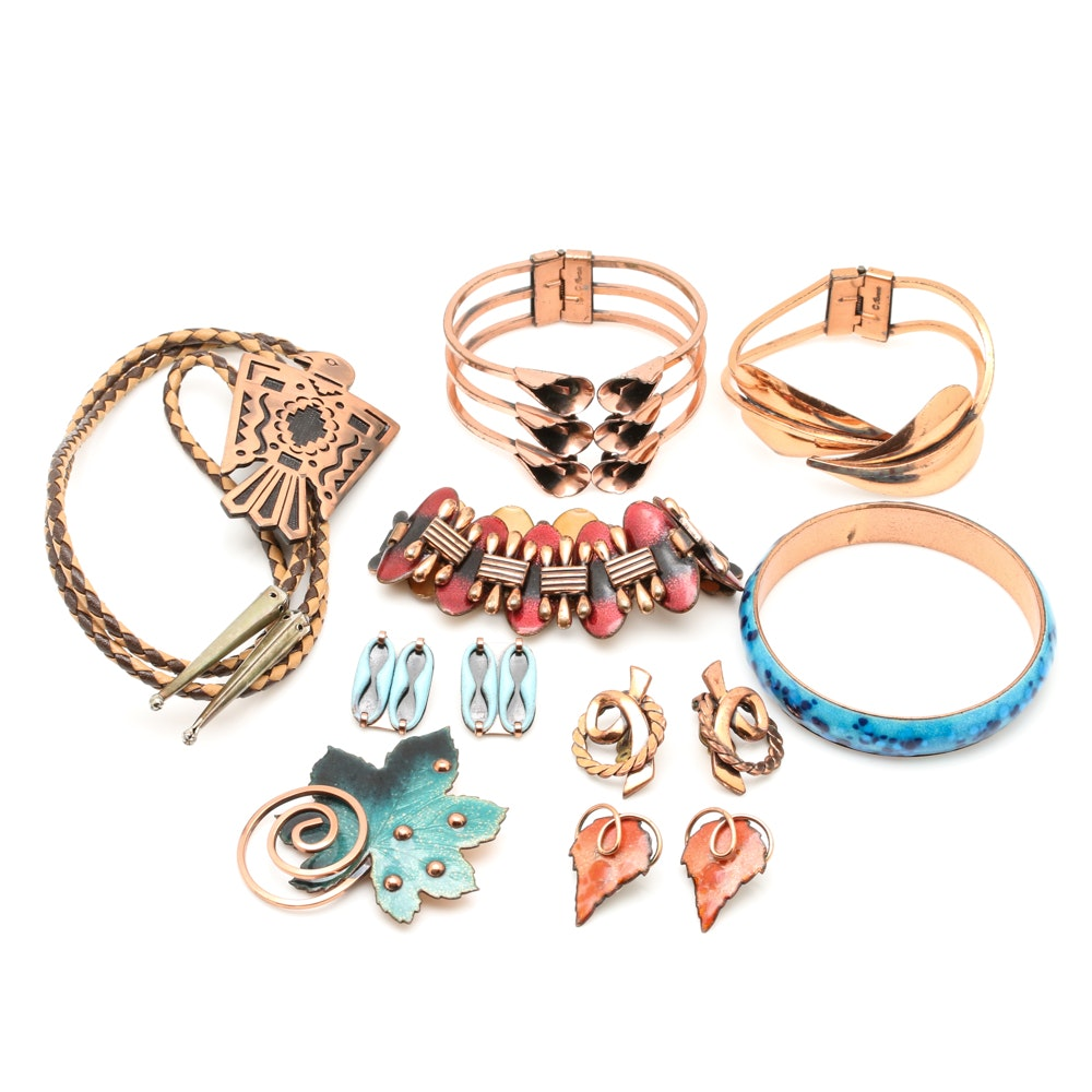 Collection of Copper Jewelry Including Matisse and Renoir