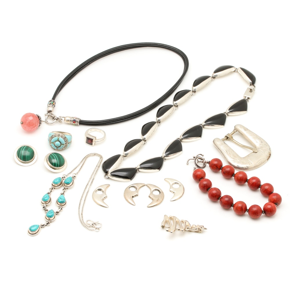Sterling Silver Jewelry Assortment Including Gemstones