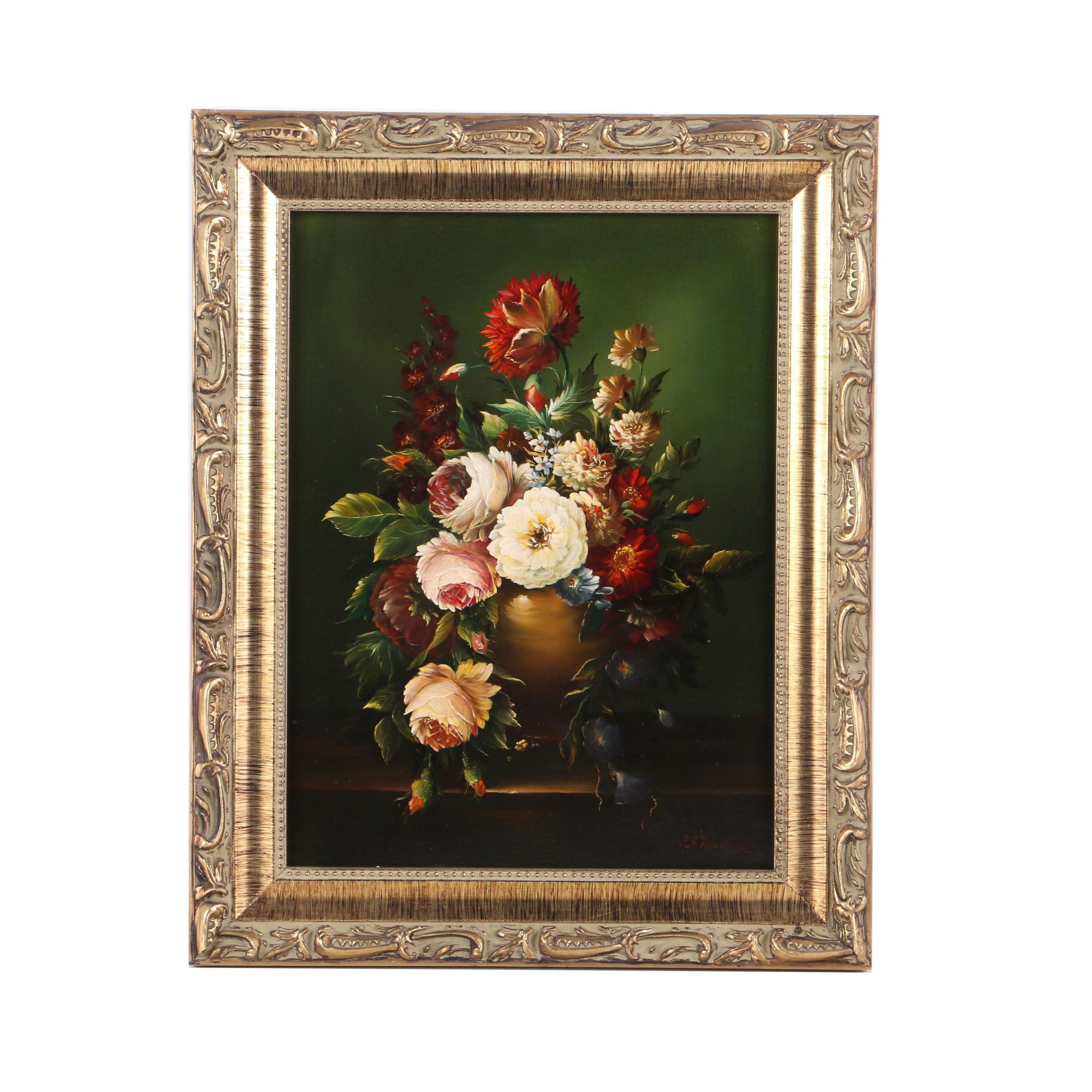 Reine Josephine Thieblin Oil Painting on Panel Floral Still Life