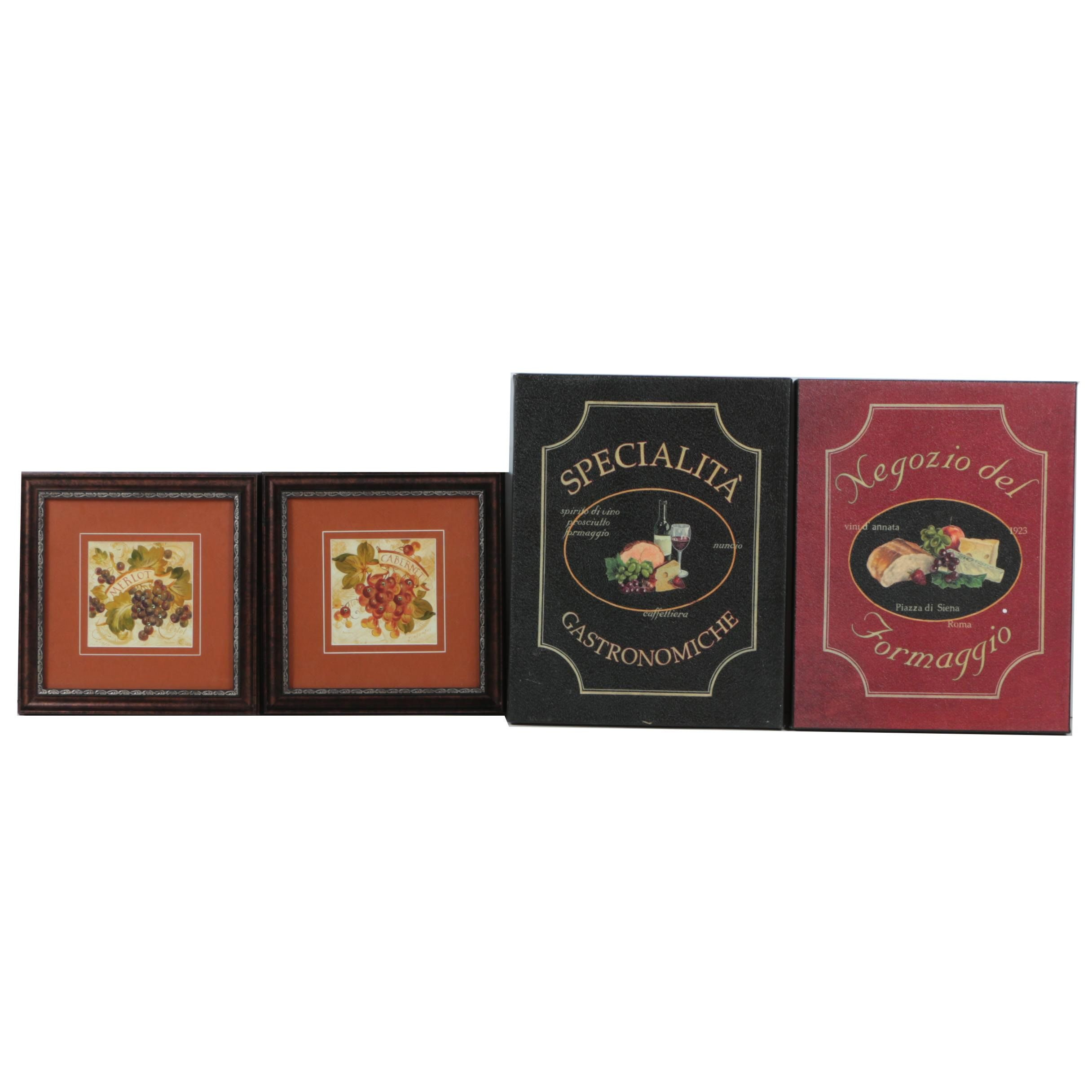 Collection of Reproduction Prints with a Wine and Cheese Theme