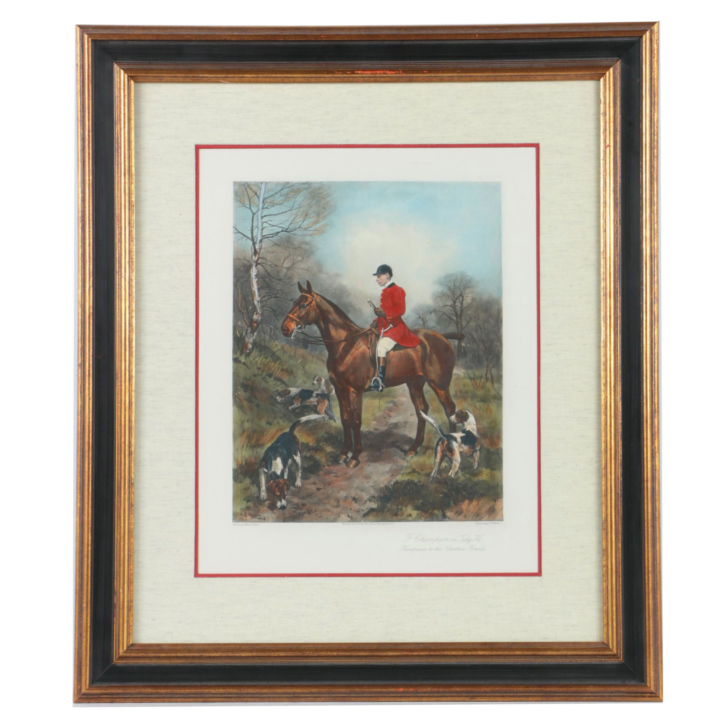 """Color Lithograph on Paper after Alfred G.Haigh """"F. Champion On 'Tally Ho'"""""""