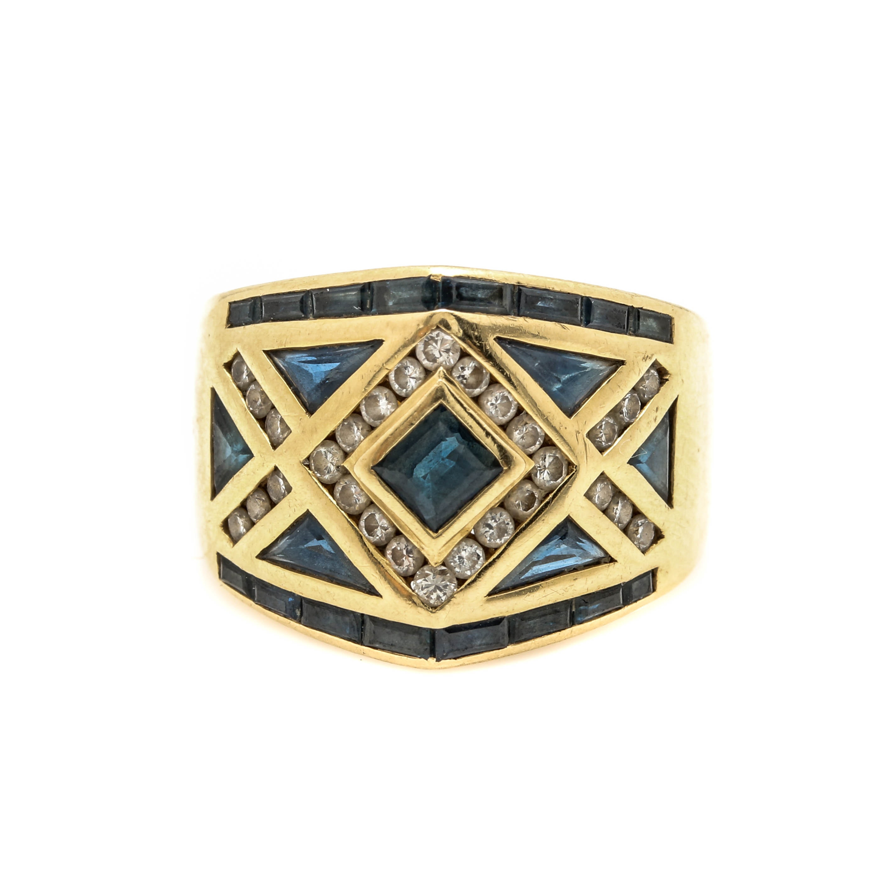 LeVian 18K Yellow Gold Sapphire and Diamond Ring