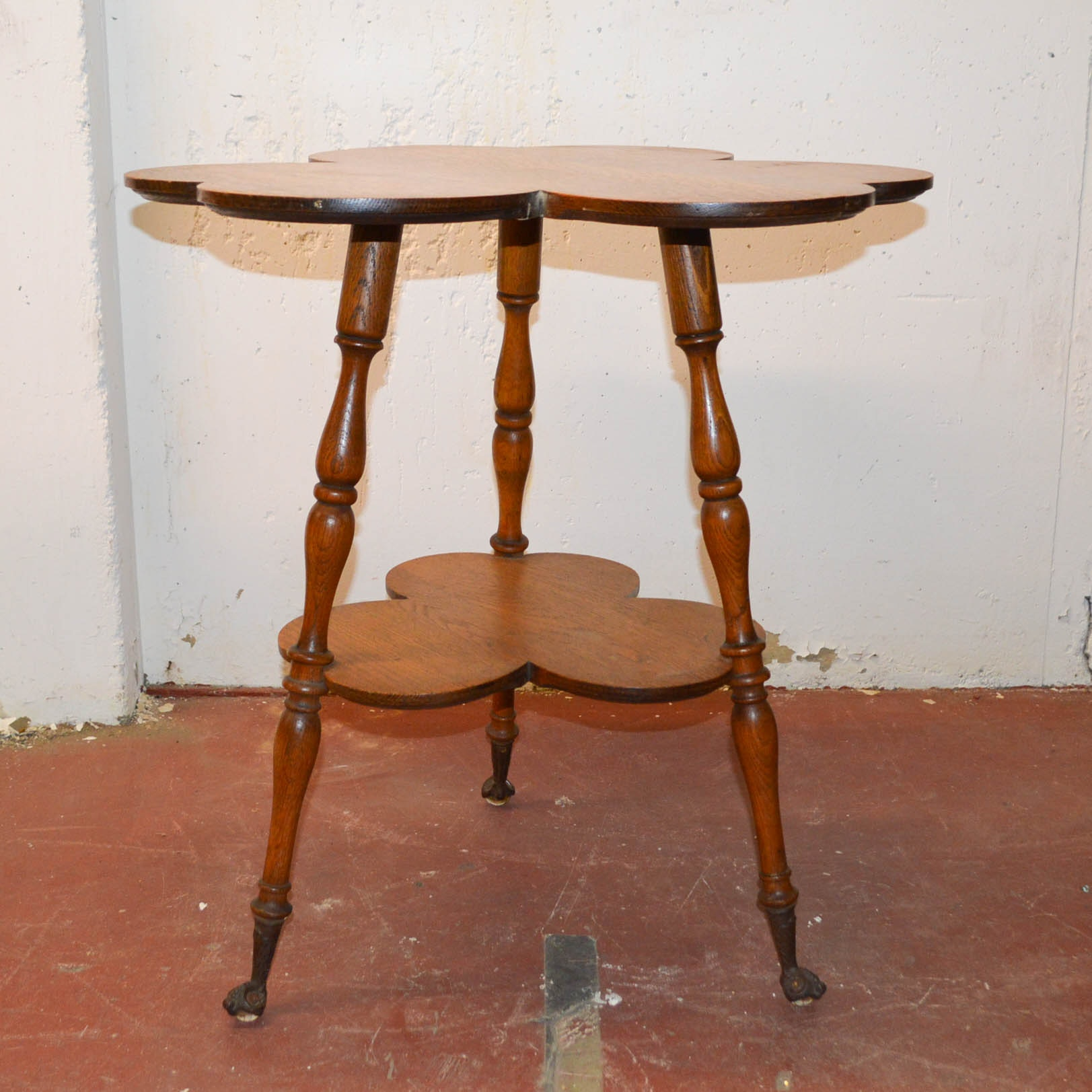 Antique Oak Clover Shaped Side Table