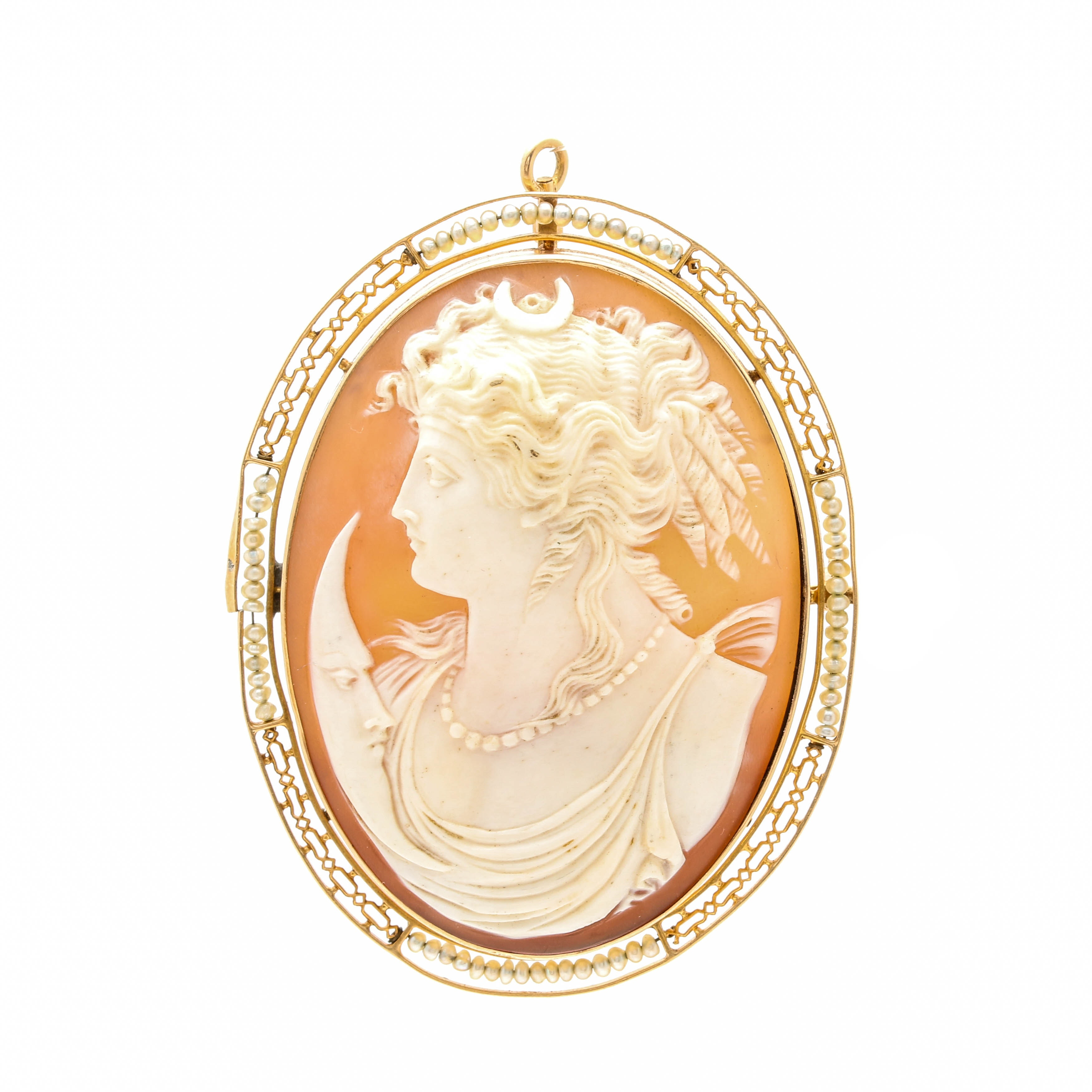 14K Yellow Gold Helmet Shell Cameo and Seed Pearl Converter Brooch