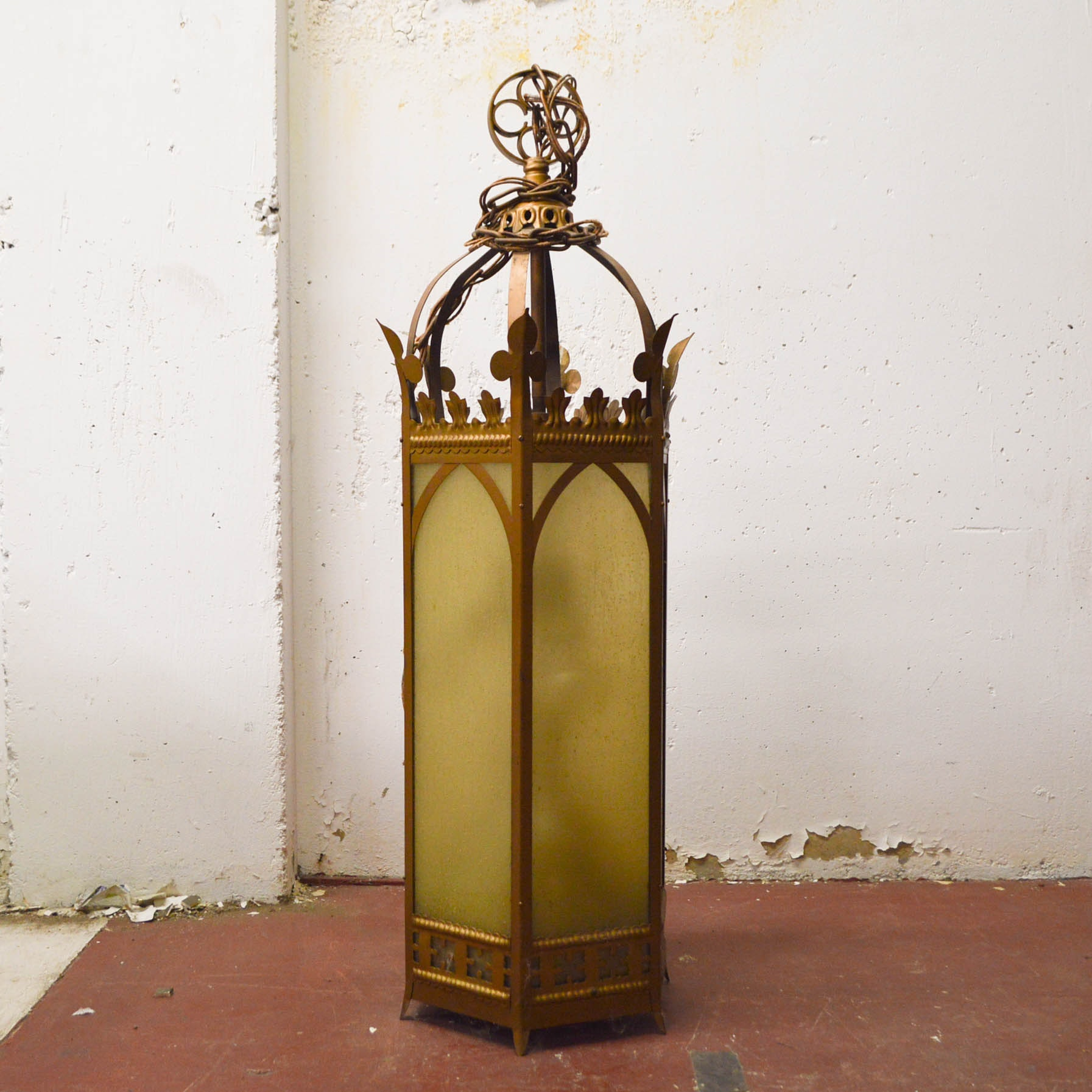 Baroque Style Brass Tone and Glass Hanging Light