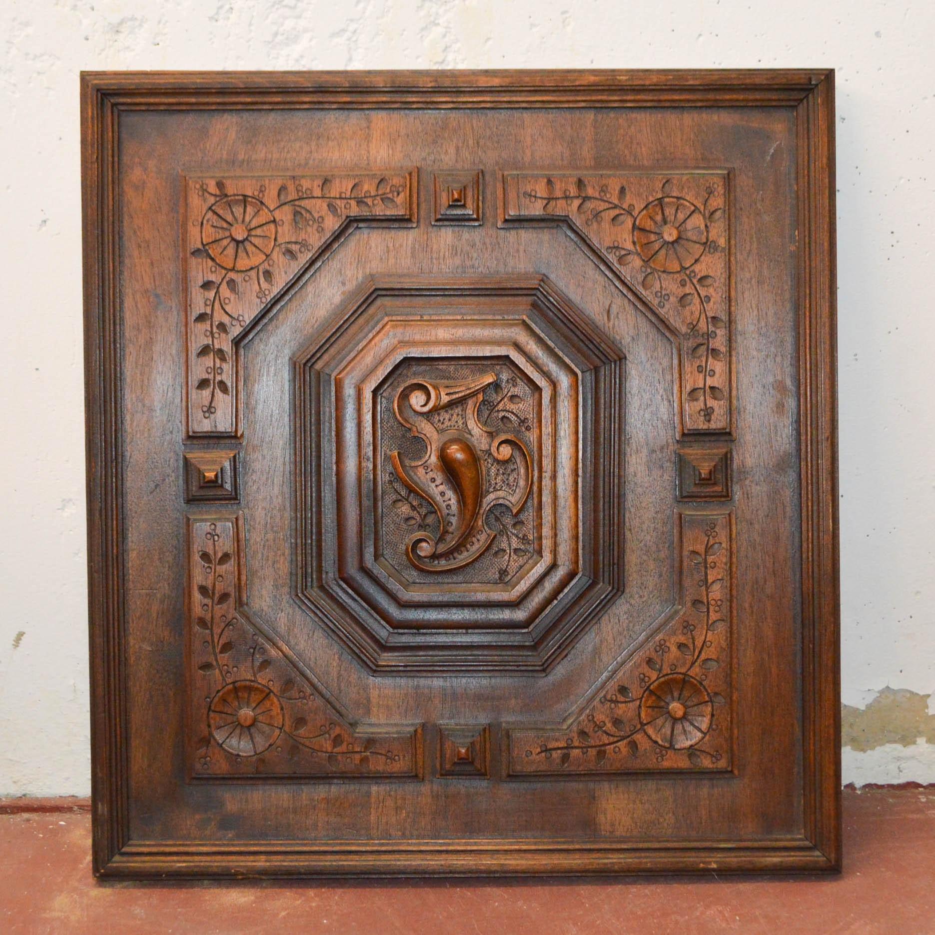 Vintage Carved Decorative Wood Panel