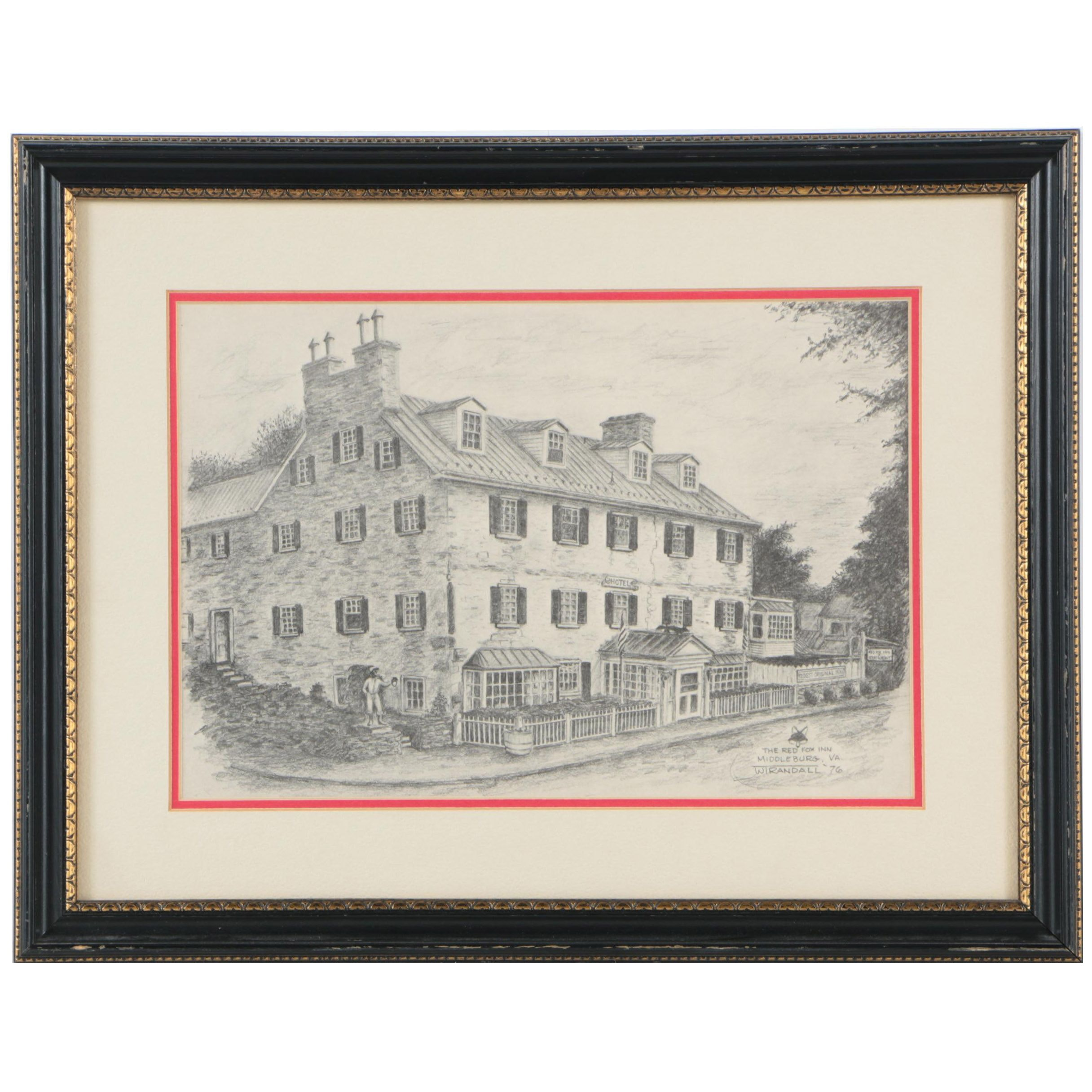 "Offset Lithograph on Paper After W. Randall ""The Red Fox Inn"""