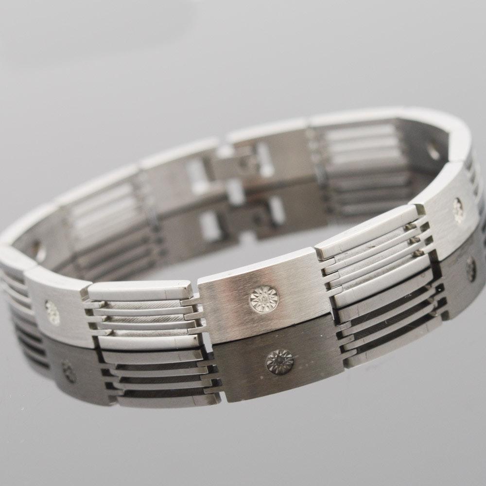 Stainless Steel 10K White Gold Set Diamond Link Bracelet