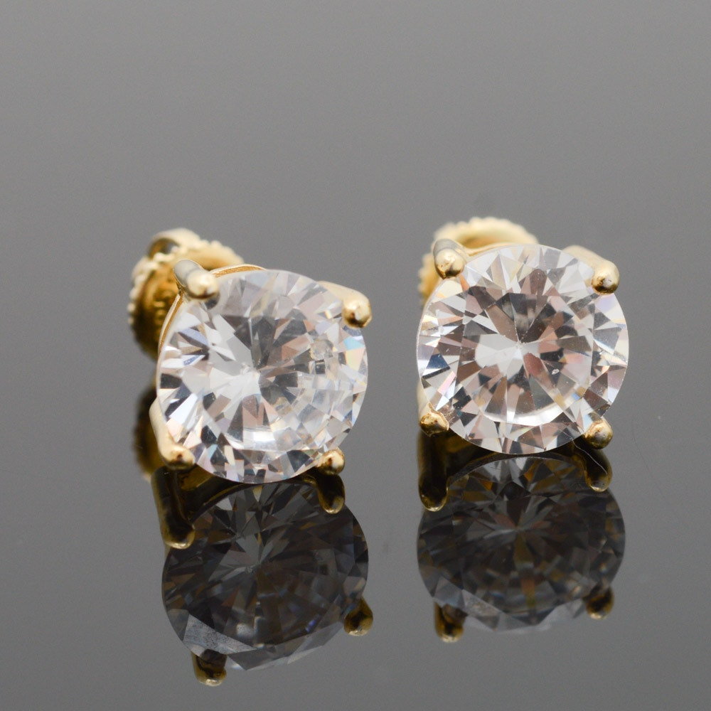 Gold Wash on Sterling Silver Cubic Zirconia Stud Earrings