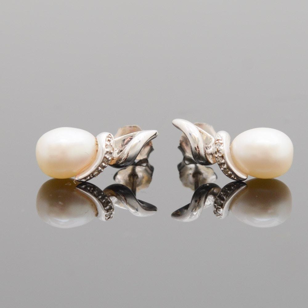 14K White Gold Freshwater Pearl and Diamond Earrings