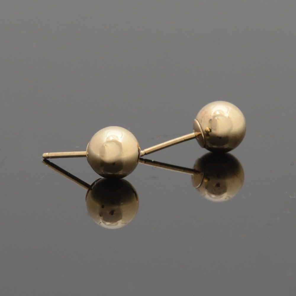 14K Yellow Gold 8 MM Stud Earrings