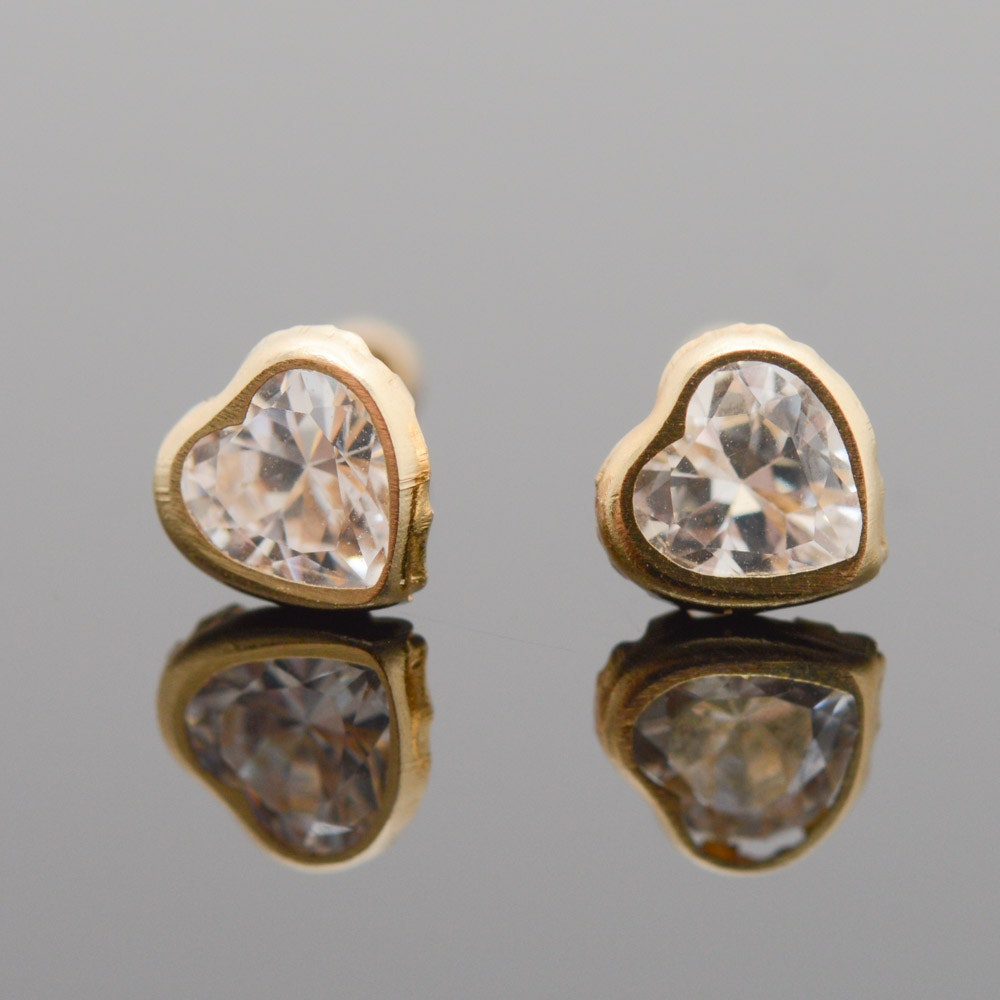 14K Yellow Gold Cubic Zirconia Heart Stud Earrings