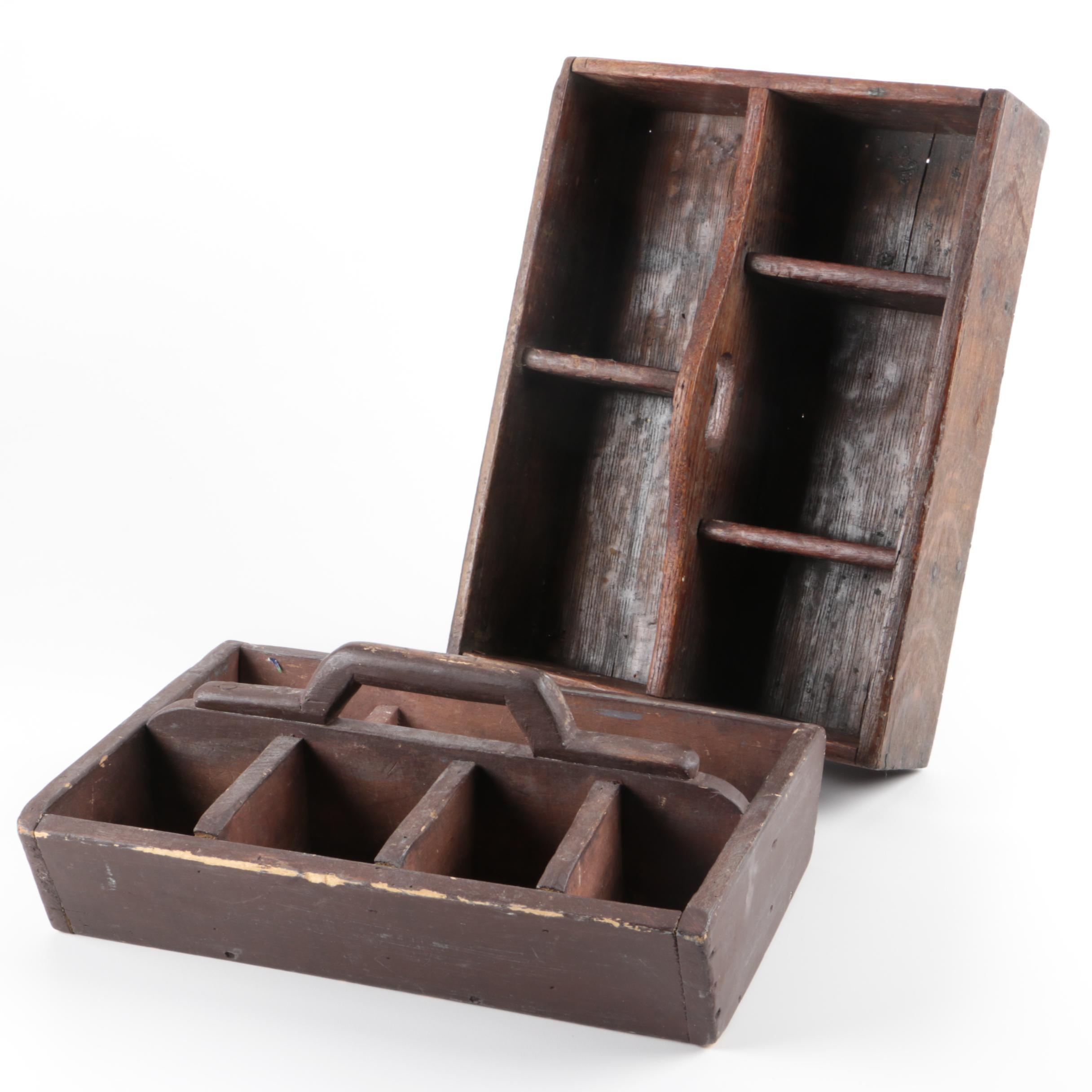 Divided Wooden Trays with Handles