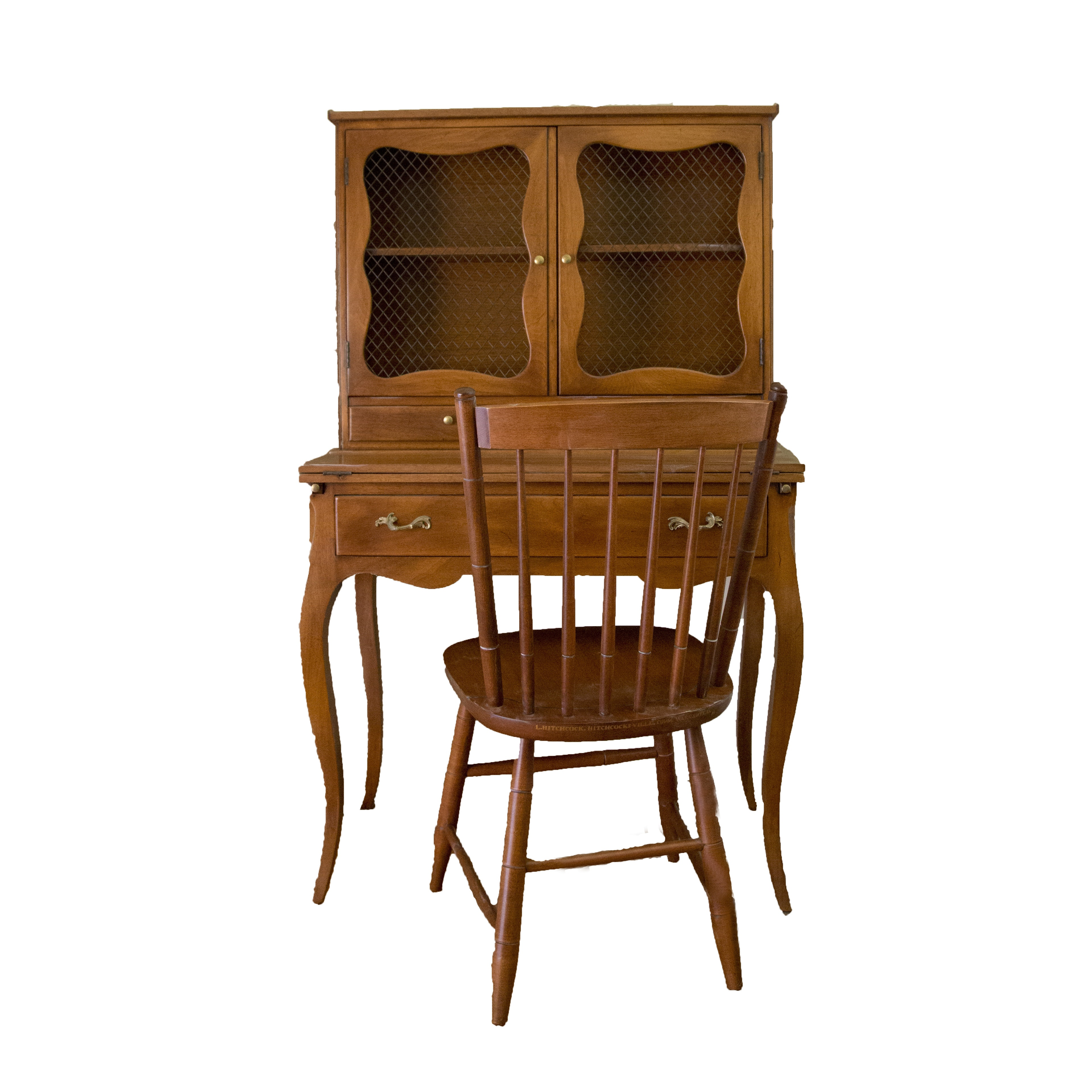 French Provincial Maple Writing Desk and Hitchcock Chair