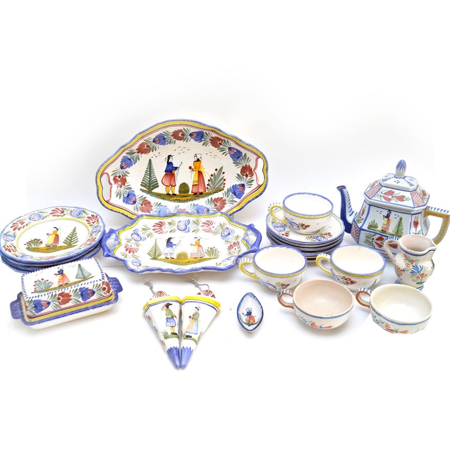 Henriot Quimper Hand-Painted French Tableware