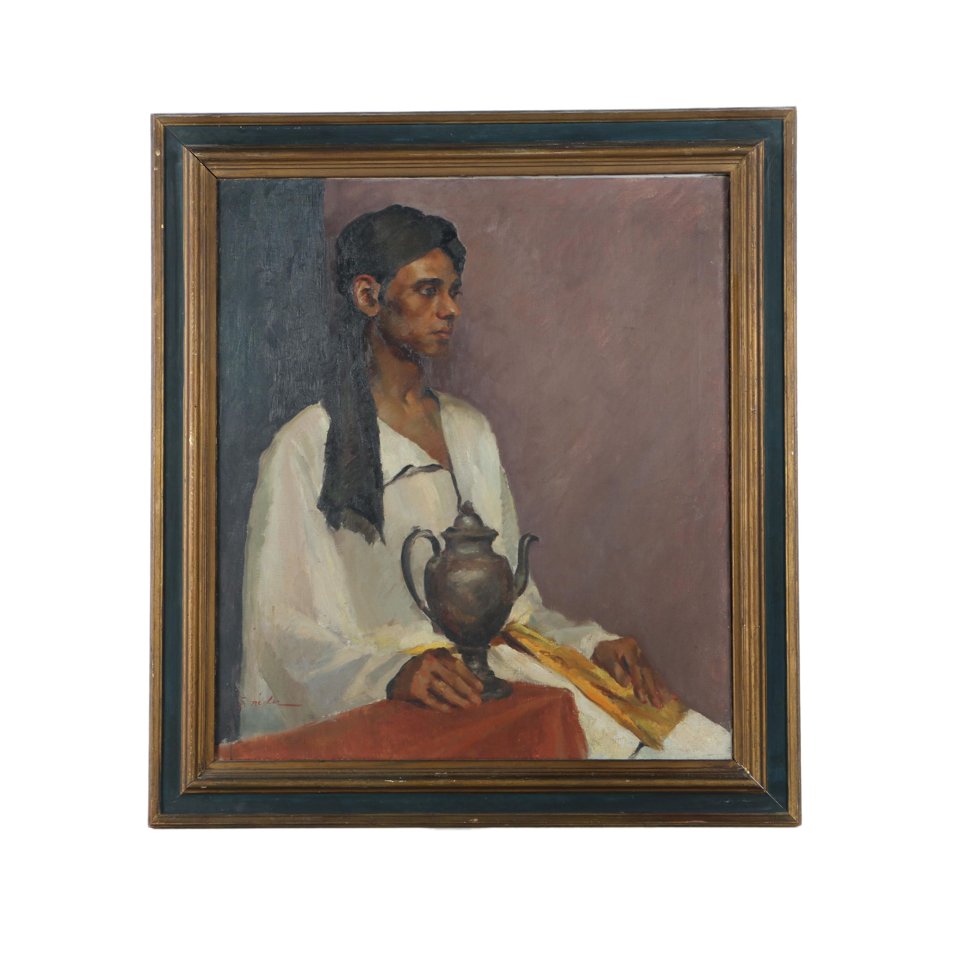 Snider Oil Painting on Canvas of a Man Holding a Teapot