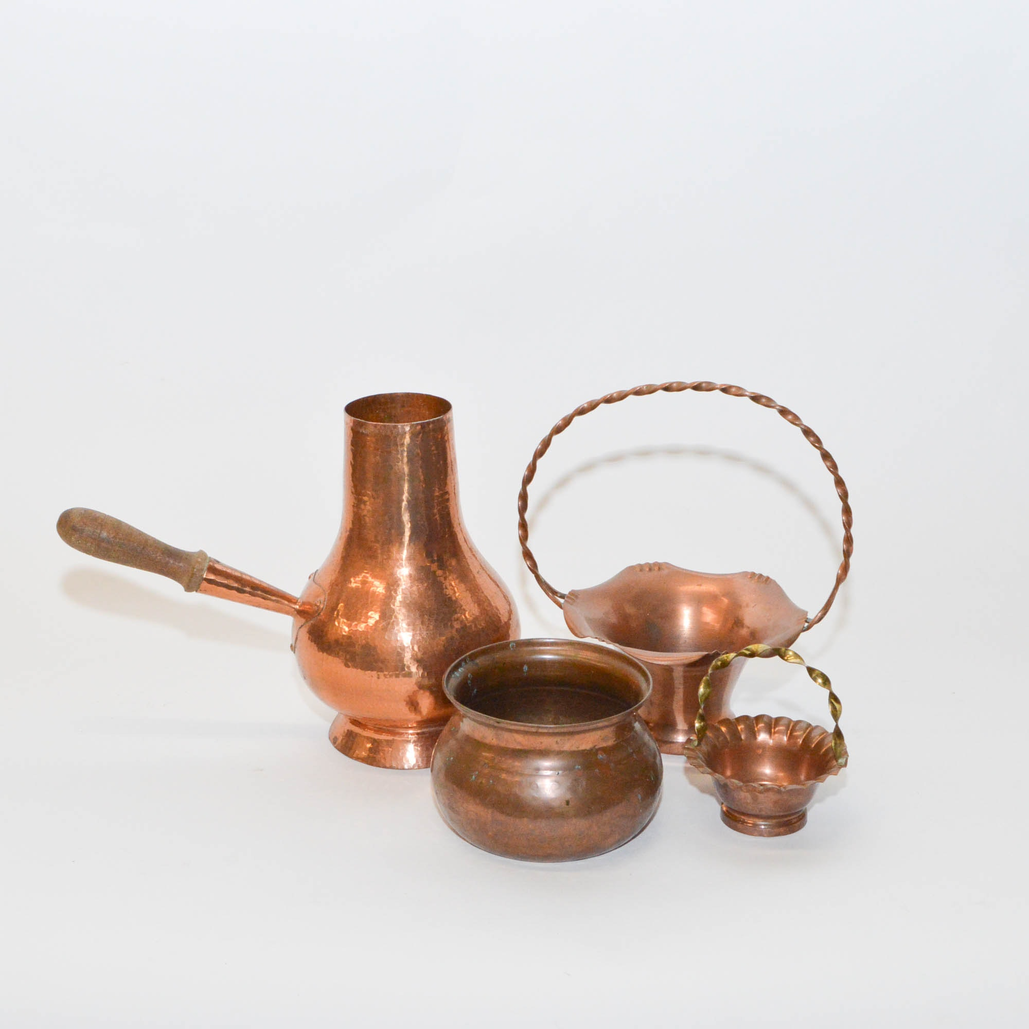 Assortment of Copper Bowls and Copper Chocolate Pot