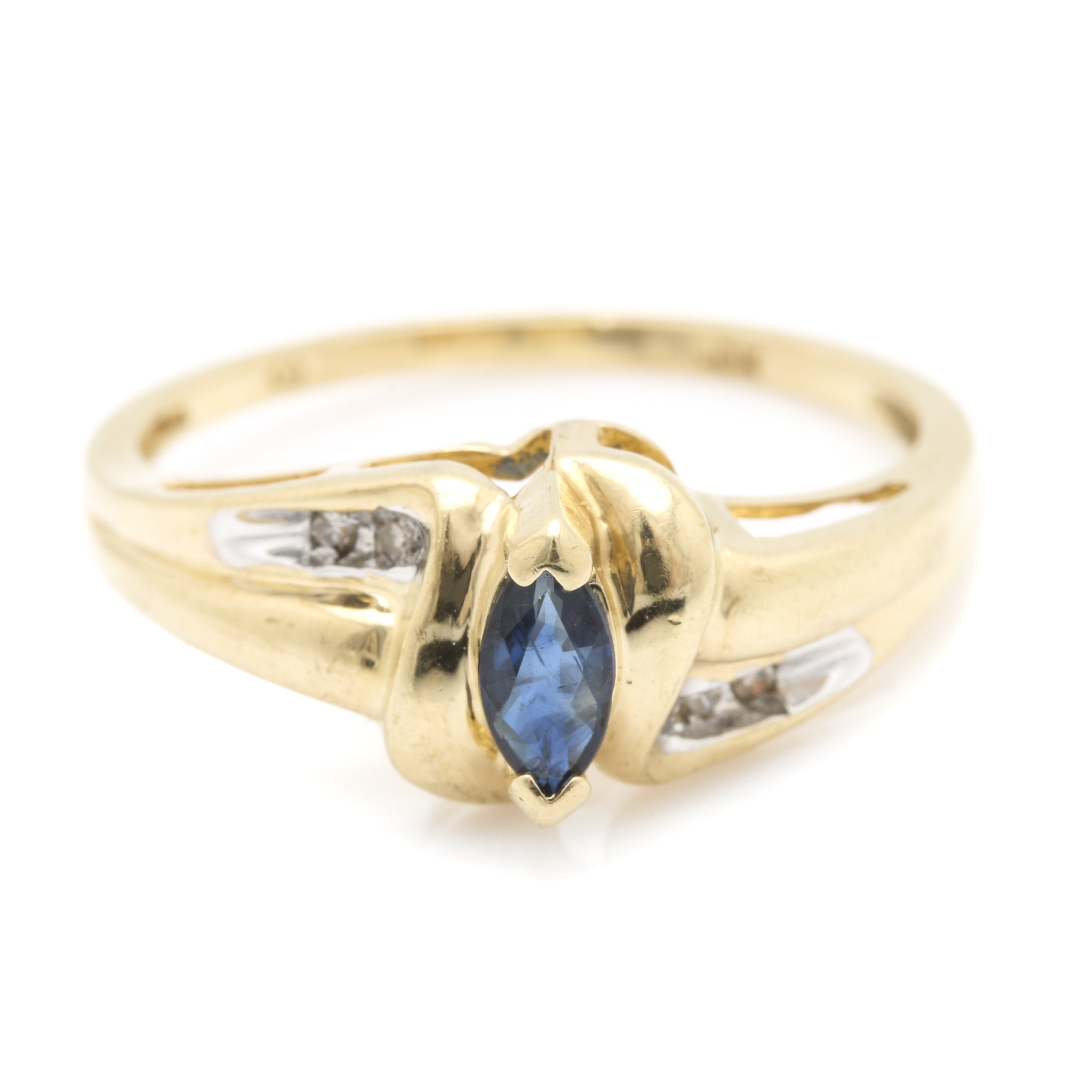 10K Yellow Gold Sapphire and Diamond Bypass Ring