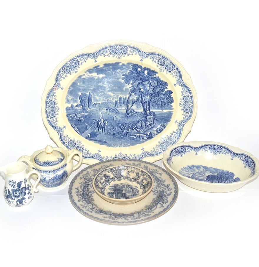 Vintage and Antique Blue English Pottery
