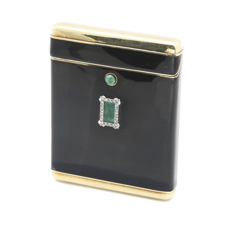 Art Deco 14K Yellow Gold Diamond, and Enamel Cigarette Case