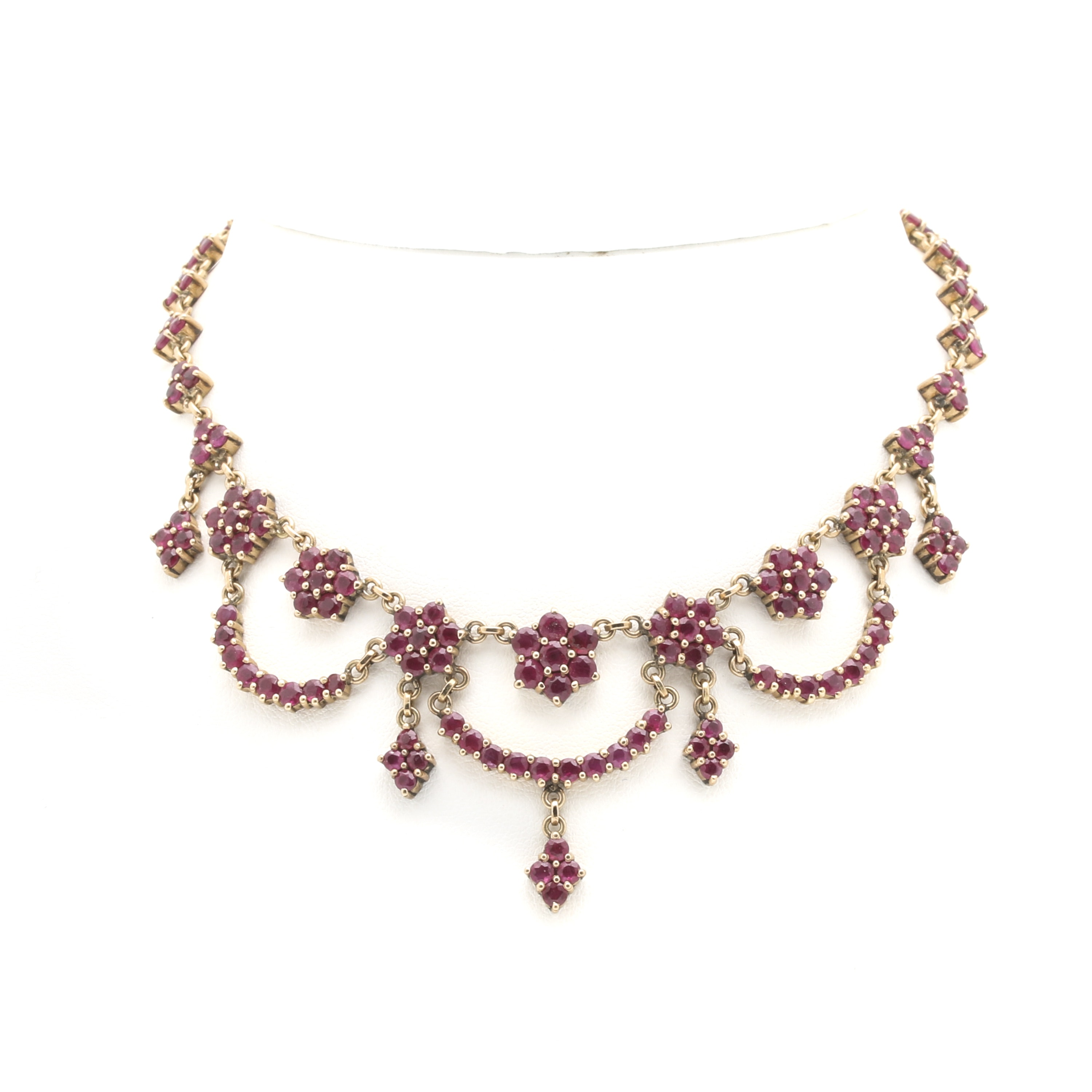 14K and 18K Yellow Gold Ruby Necklace