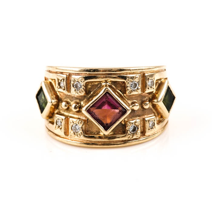 14K Yellow Gold Pink and Green Tourmaline with Diamond Ring