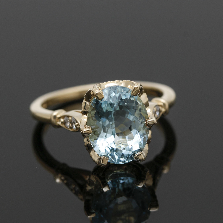 14K Yellow Gold 2.87 CT Aquamarine and Diamond Ring
