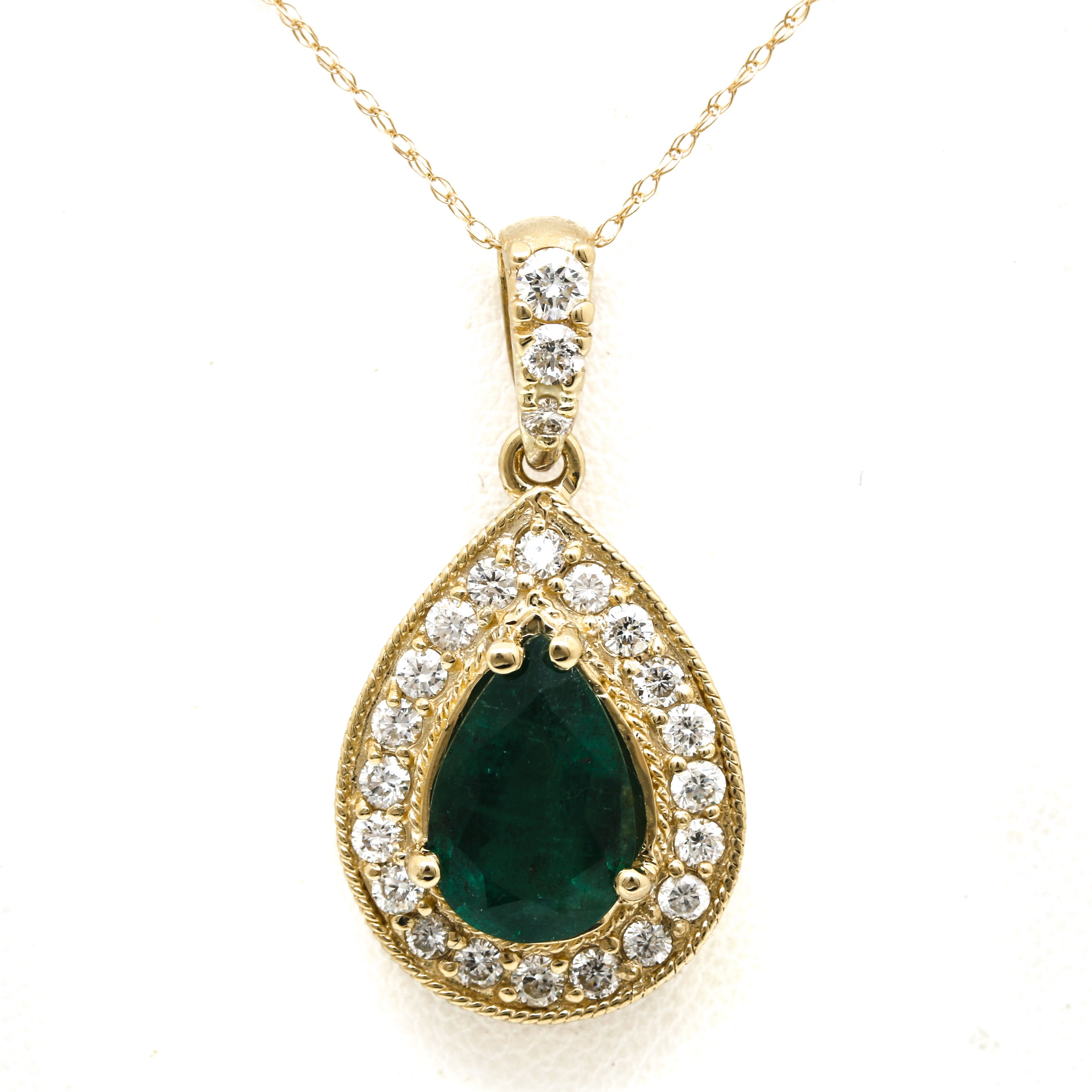 14K Yellow Gold 1.90 CT Emerald and Diamond Necklace