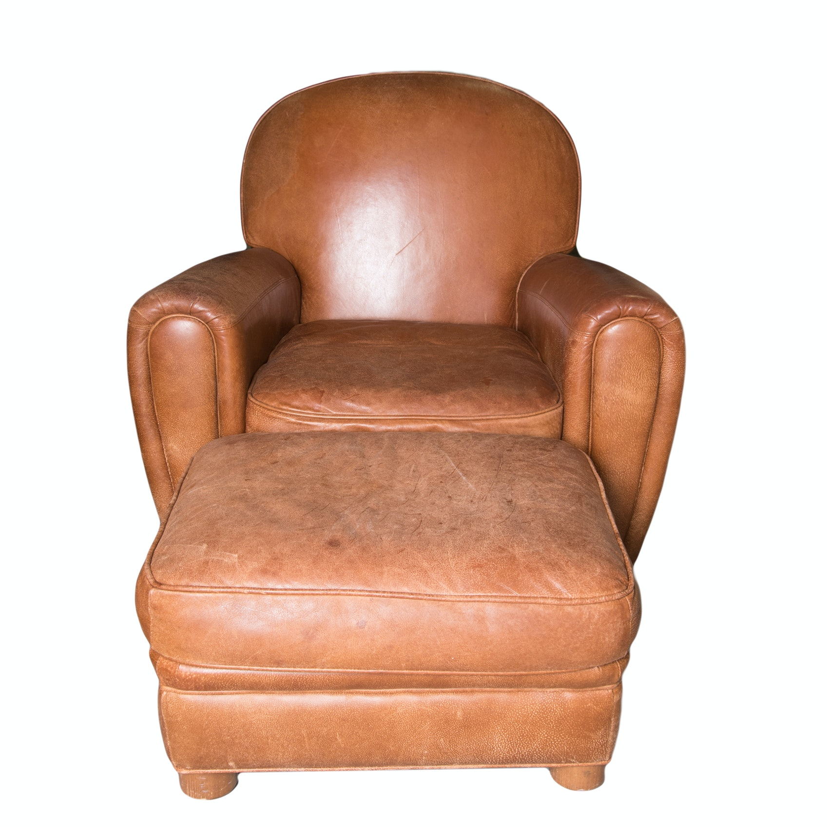 Bernhardt Leather Arm Chair and Ottoman