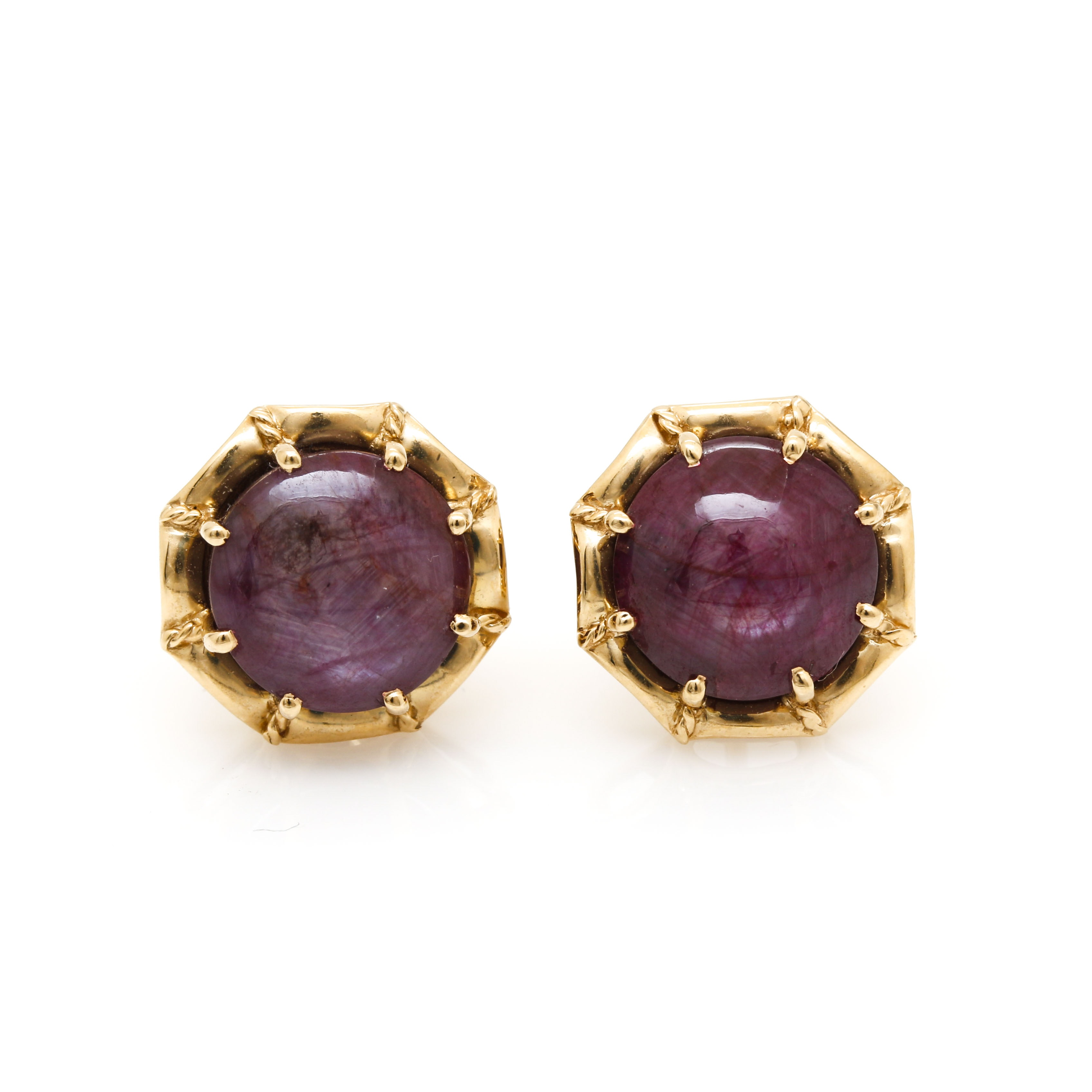 18K Yellow Gold 9.06 CTW Star Ruby Stud Earrings