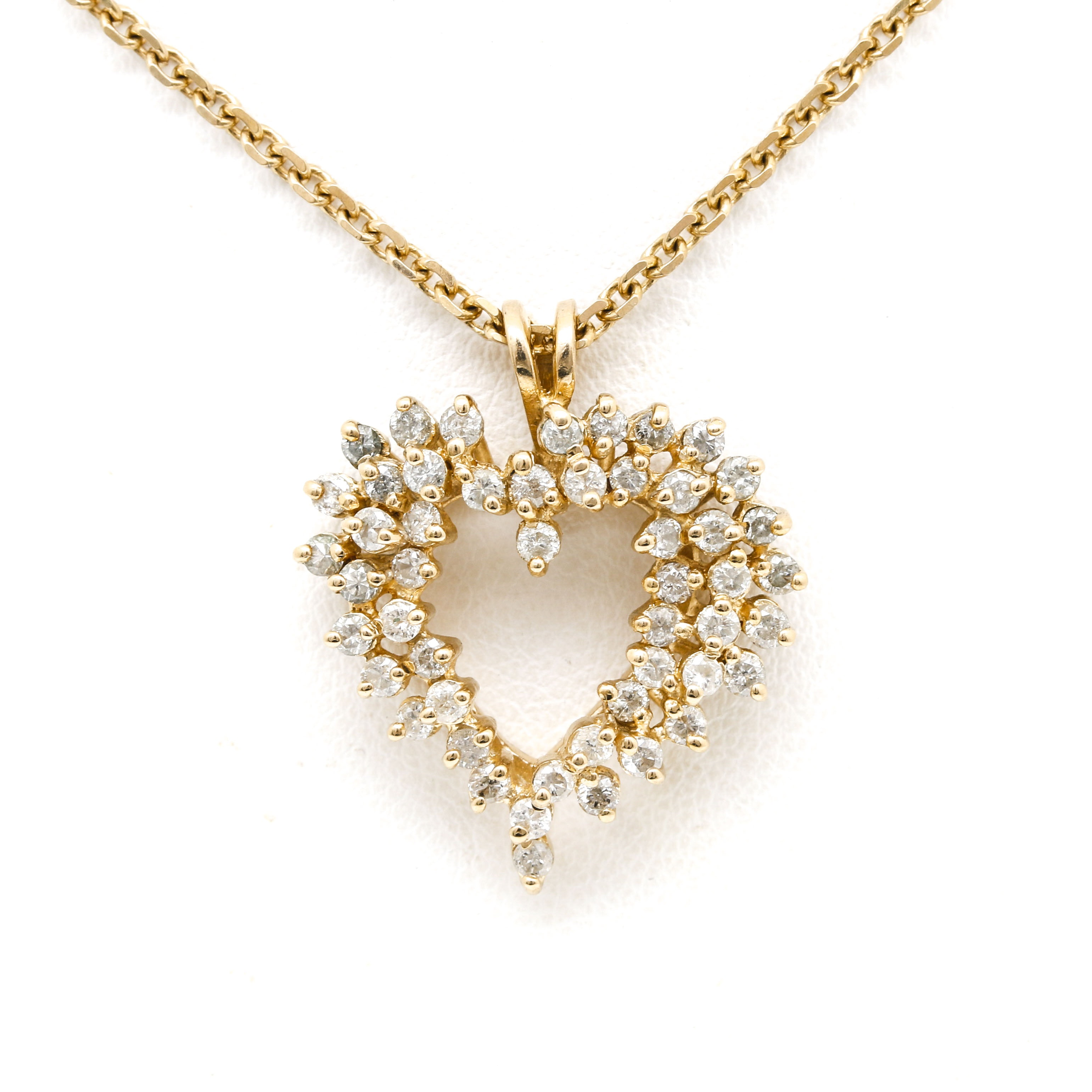 14K Yellow Gold 1.00 CTW Diamond Heart Pendant Necklace