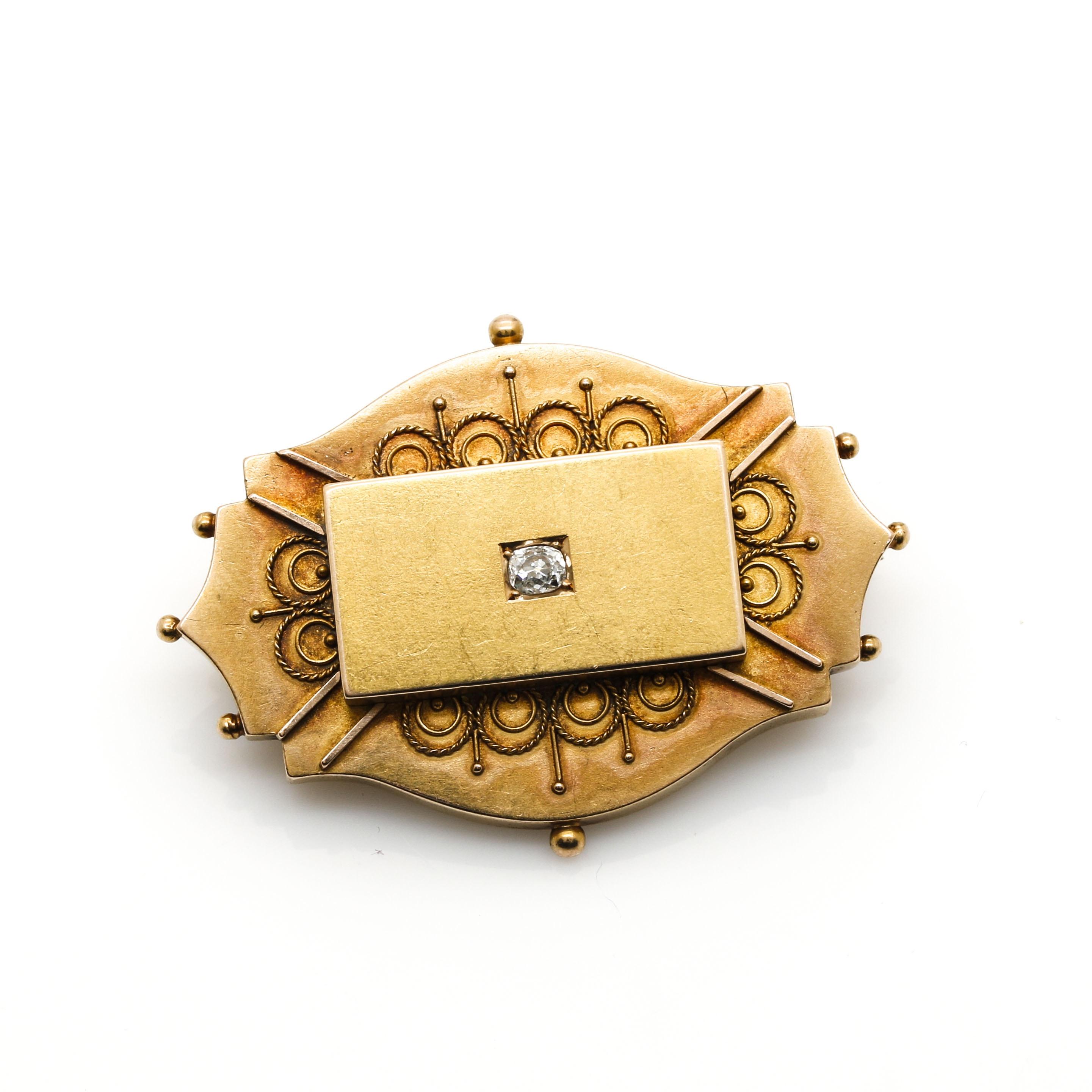 Mid Victorian 18K Yellow Gold Diamond Momento Mori Brooch