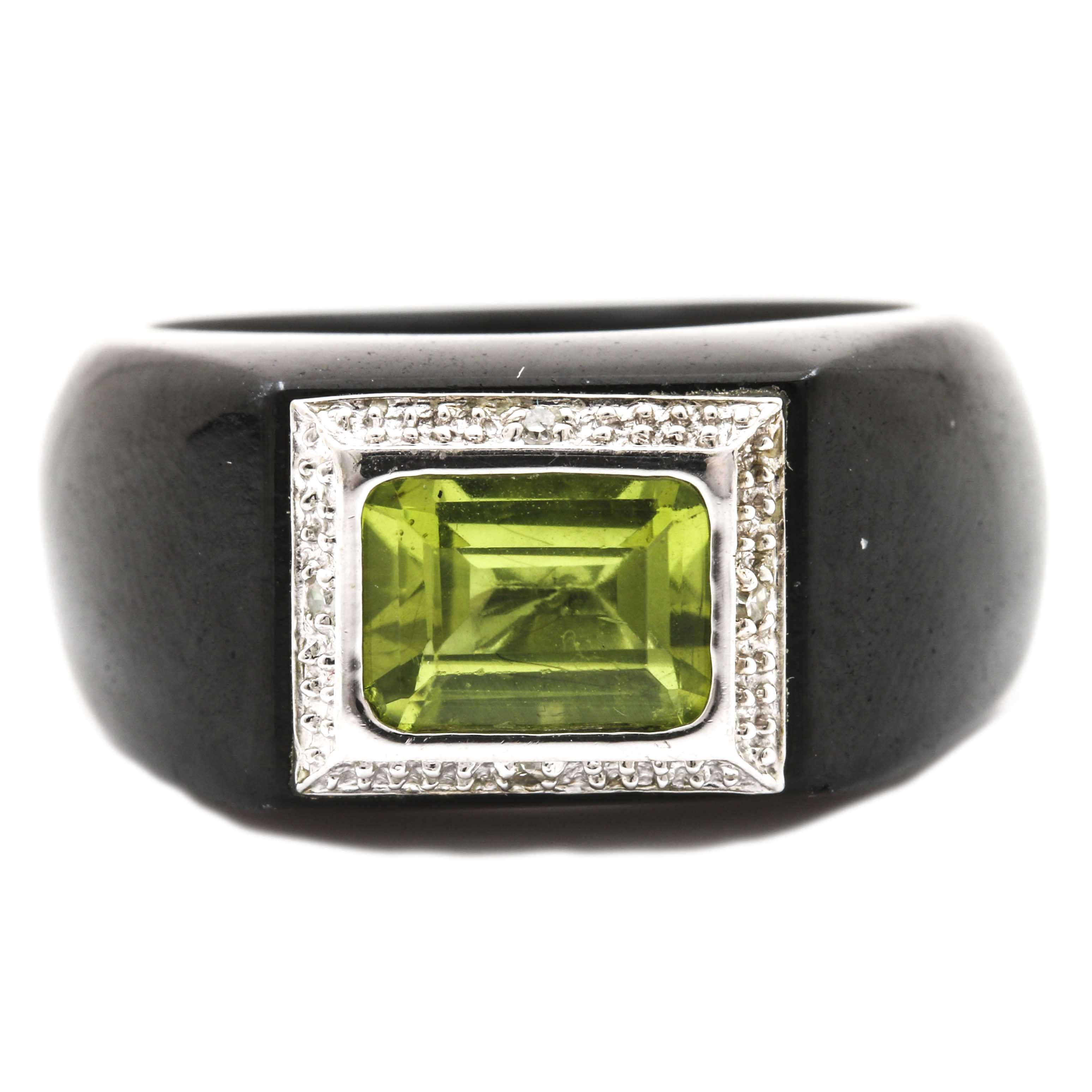 14K White Gold Peridot and Diamond Nephrite Ring